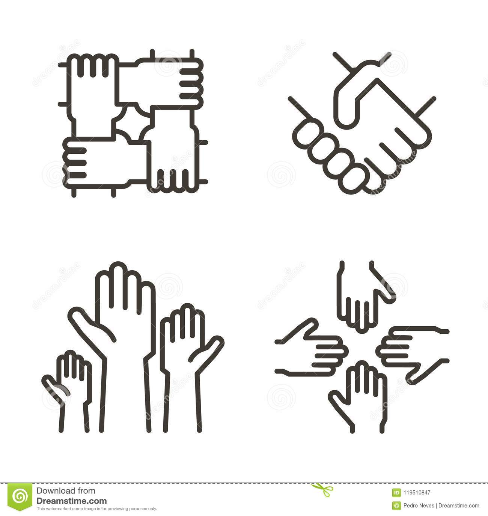 Reeks handpictogrammen die vennootschap, gemeenschap, liefdadigheid, groepswerk, zaken, vriendschap en viering vertegenwoordigen
