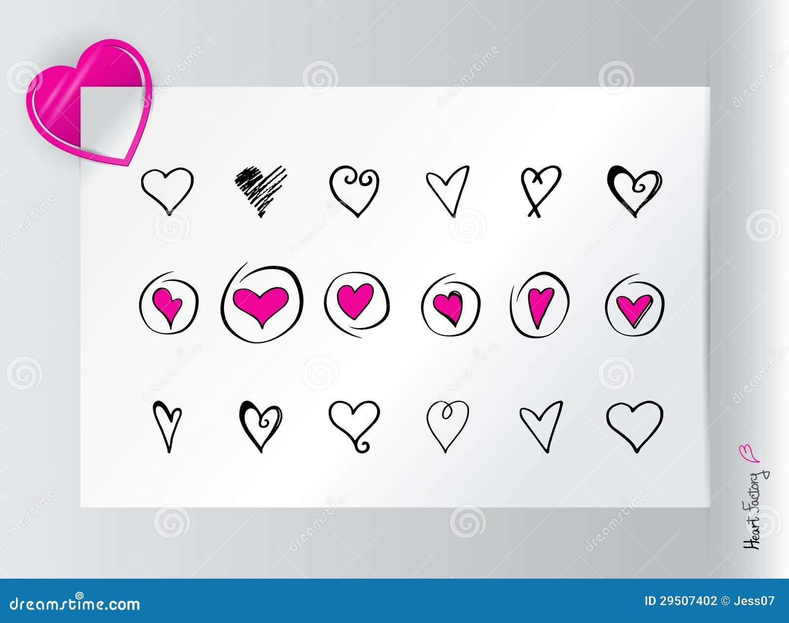 Reeks harten en paperclip