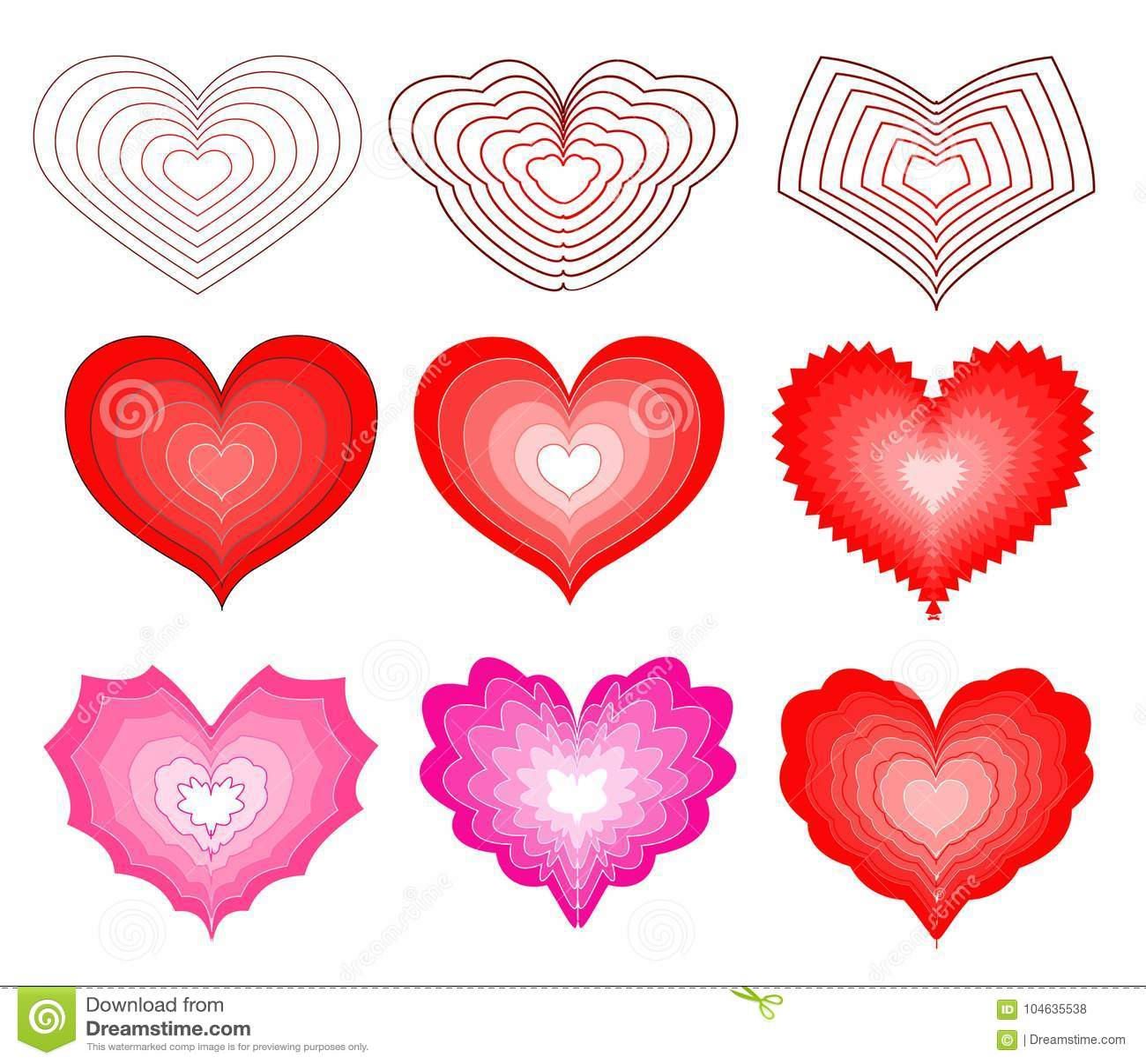 Download Reeks Harten Voor De Dag Van Valentine ` S Vector Illustratie - Illustratie bestaande uit kaart, helder: 104635538