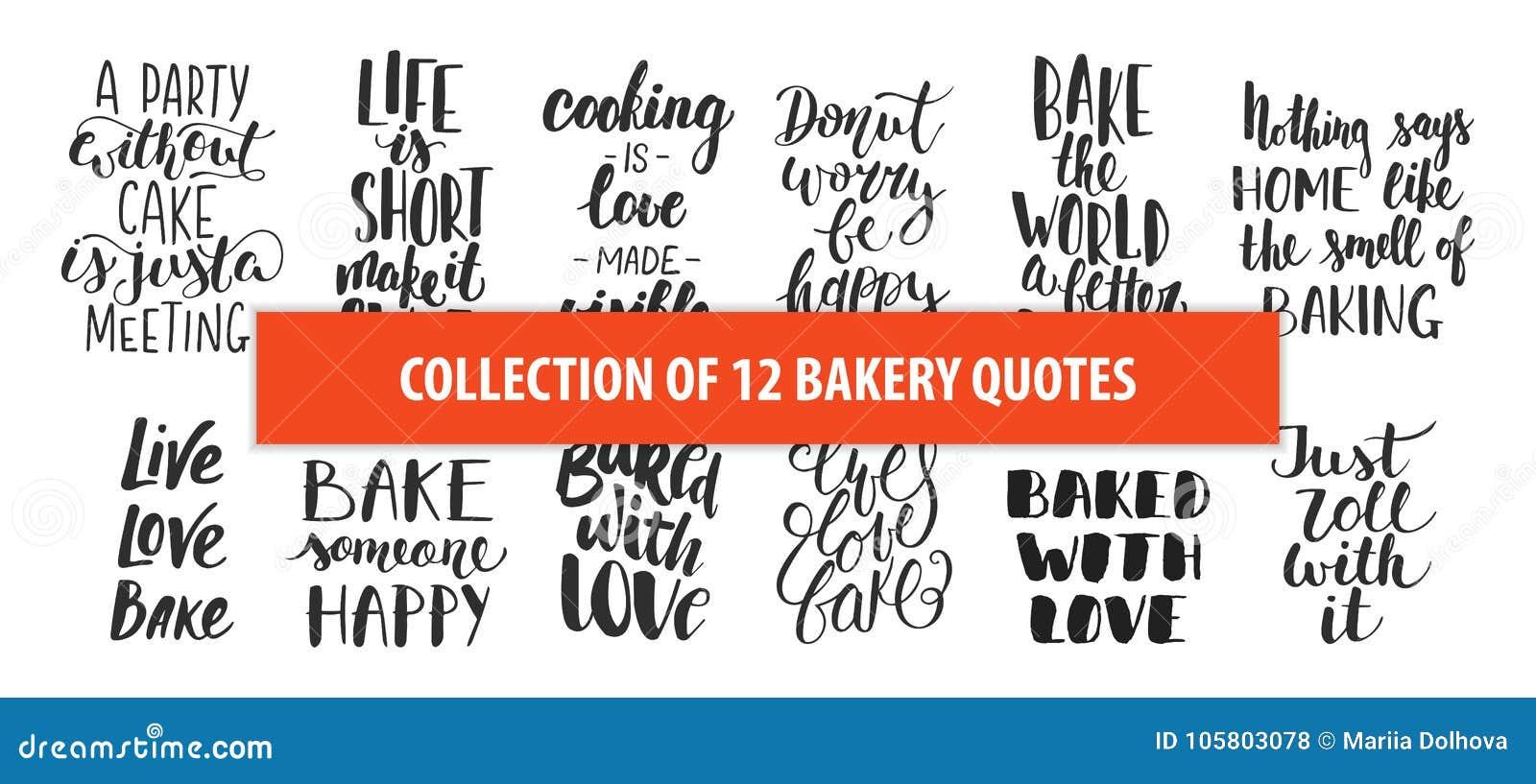 Reeks het ontwerpelementen van de bakkerij vectorhand getrokken unieke typografie voor affiches, groetkaarten, decoratie, drukken