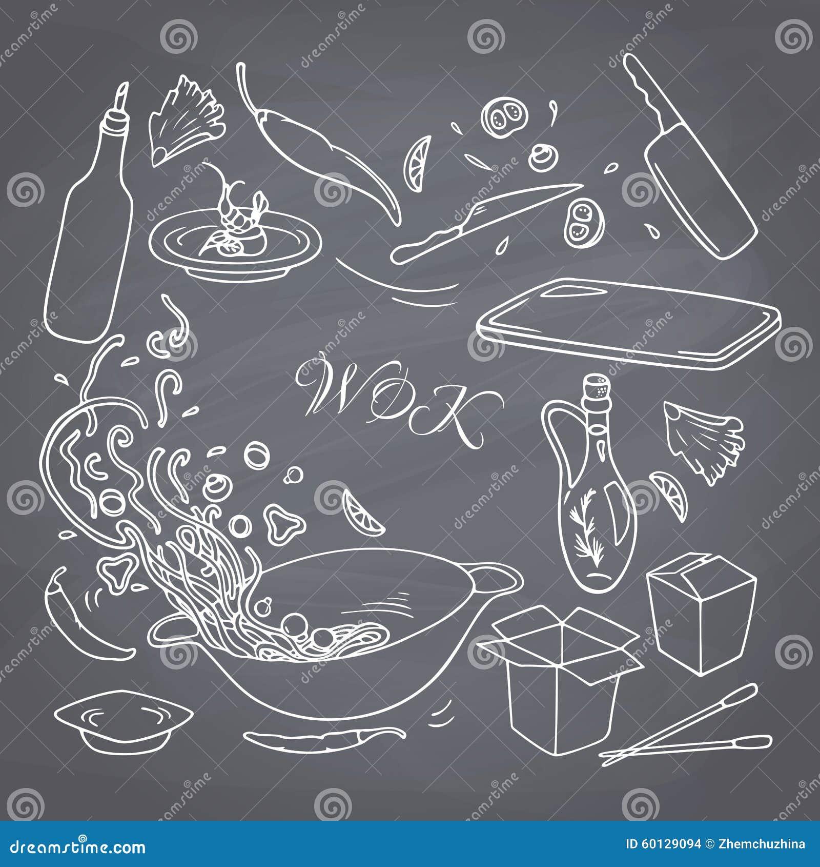 Reeks het restaurantelementen van de overzichtshand getrokken wok voor uw ontwerp De krabbel Aziatisch voedsel van de krijtstijl