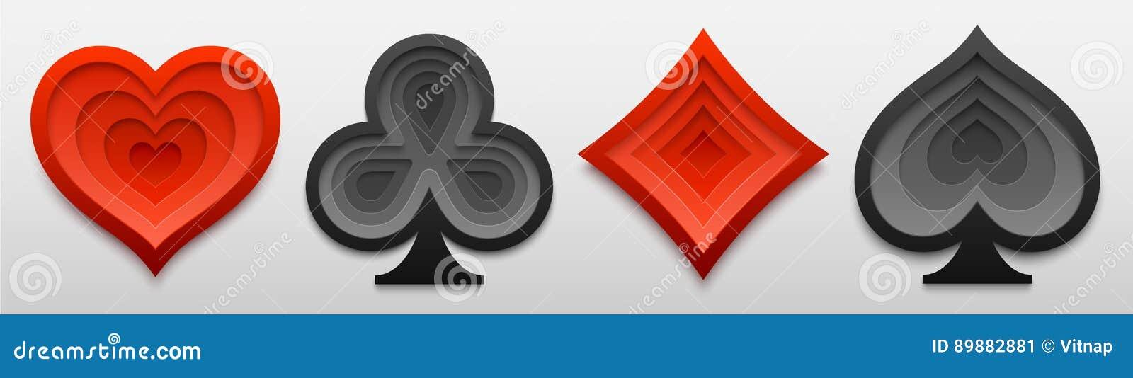 Reeks het tekenvormen van het speelkaartkostuum Document kunst van vier kaartsymbolen Vector illustratie