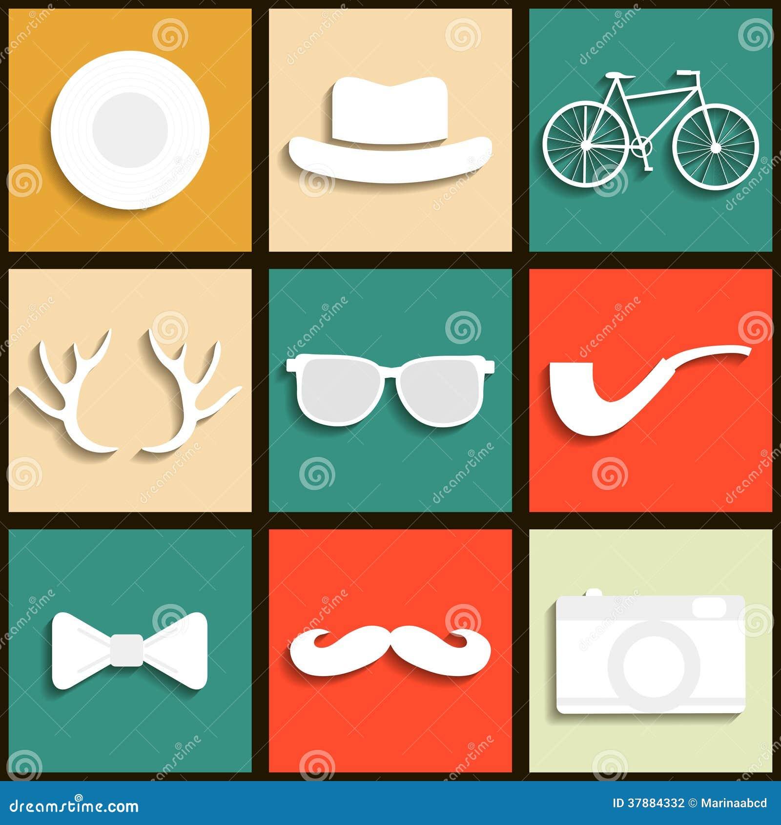 Reeks hipster pictogrammen