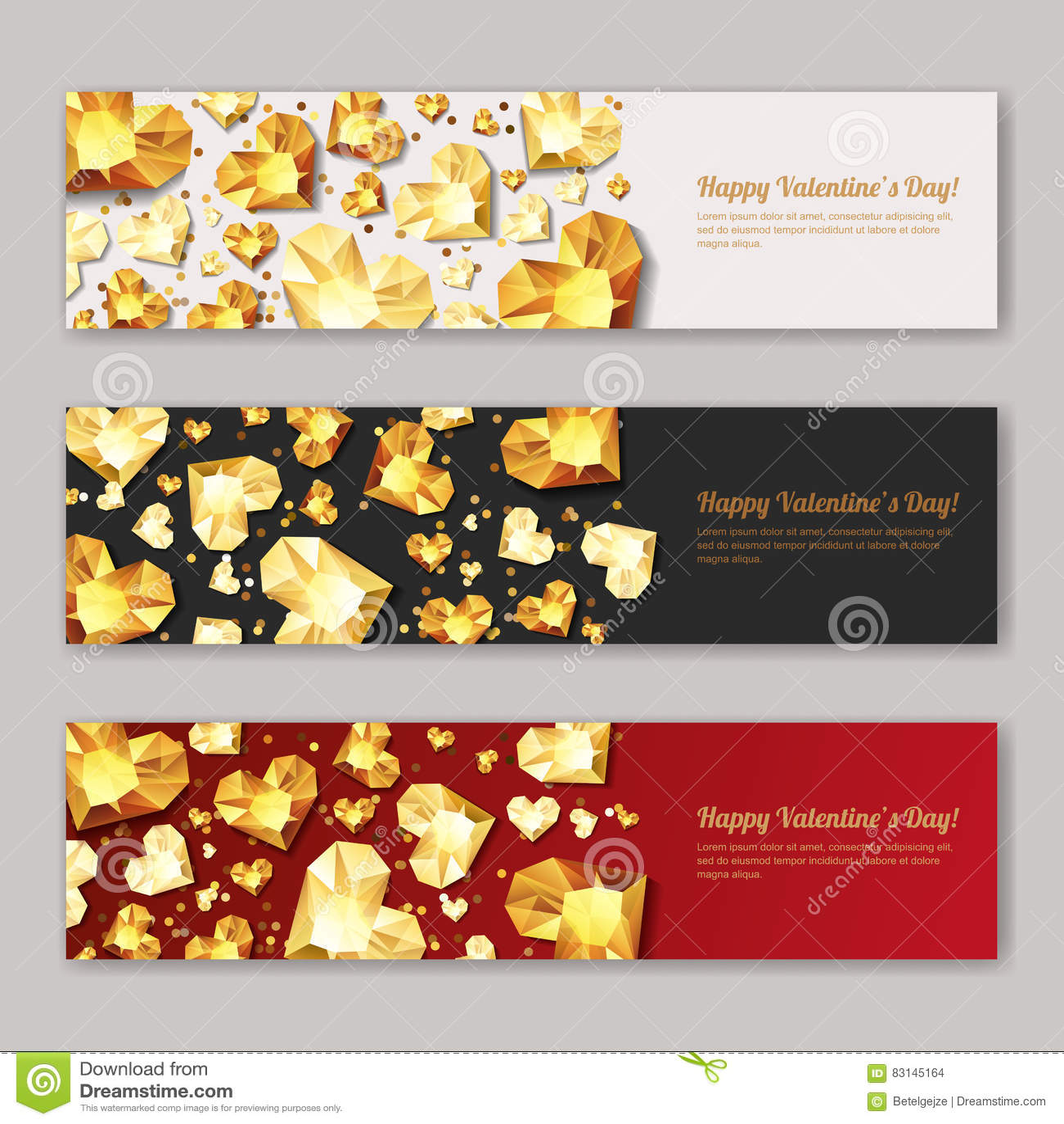Reeks horizontale banners van de Valentijnskaartendag met 3d gouden hartdiamanten, gemmen, juwelen