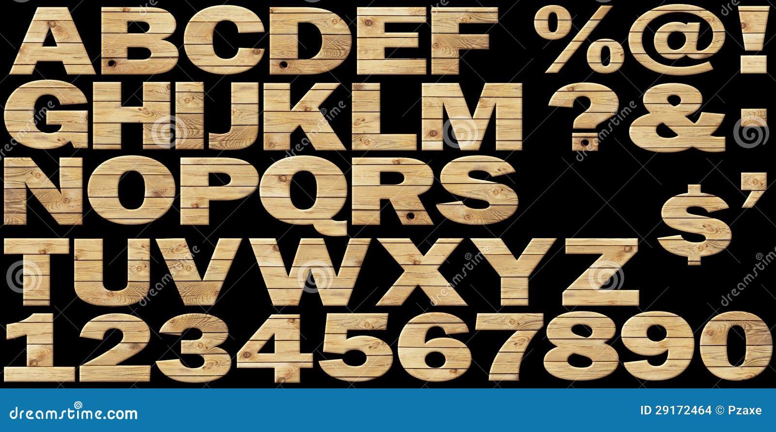 Reeks - houten alfabet op een zwarte achtergrond