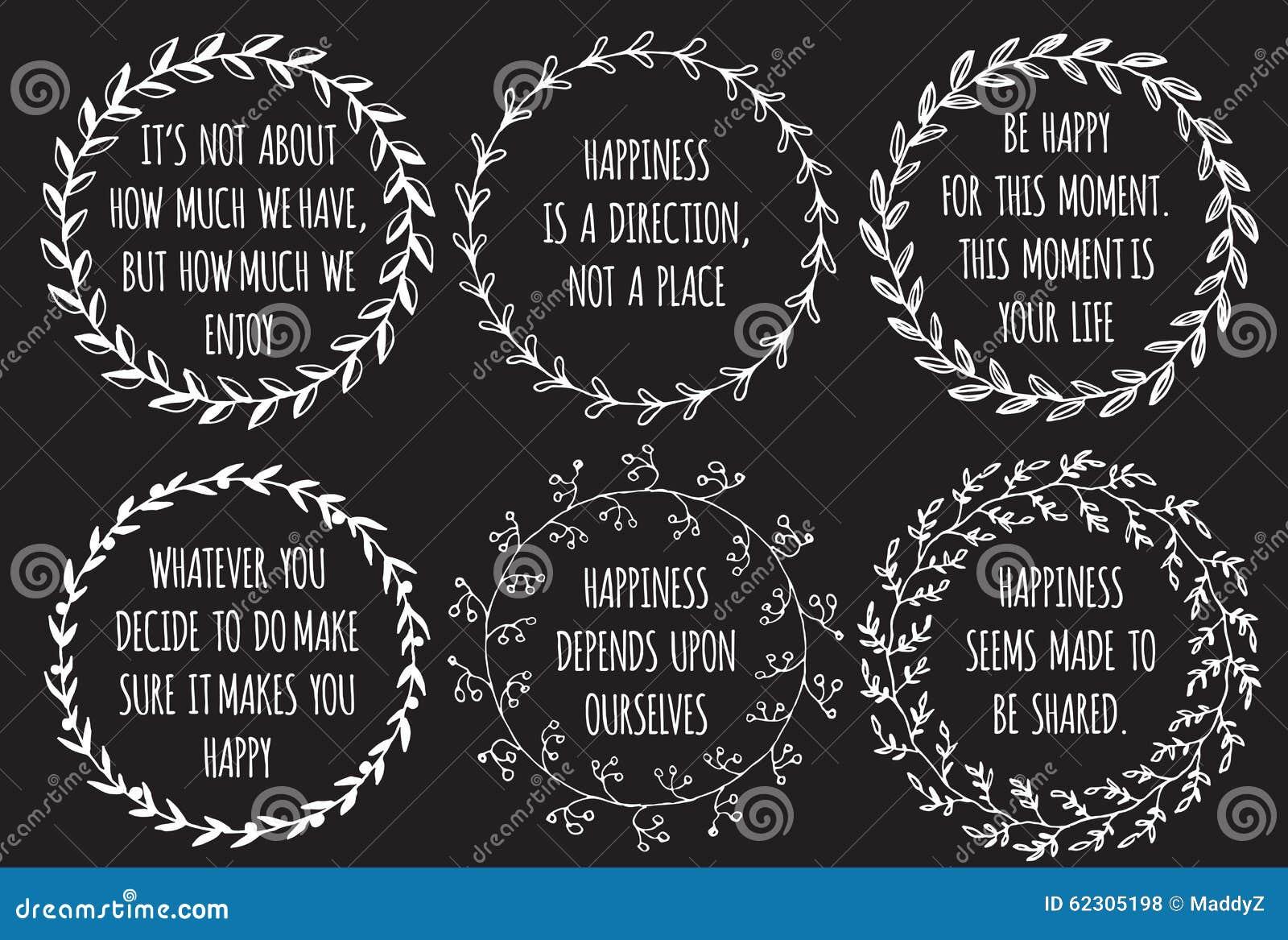 Citaten Over Eenvoud : Reeks inspiratiehand getrokken citaten over geluk vector