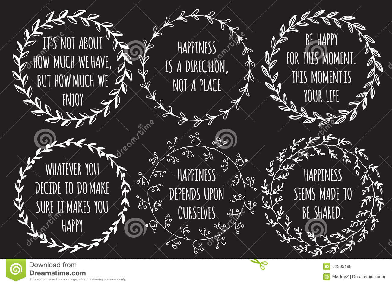 Citaten Rond Samenwerken : Reeks inspiratiehand getrokken citaten over geluk vector