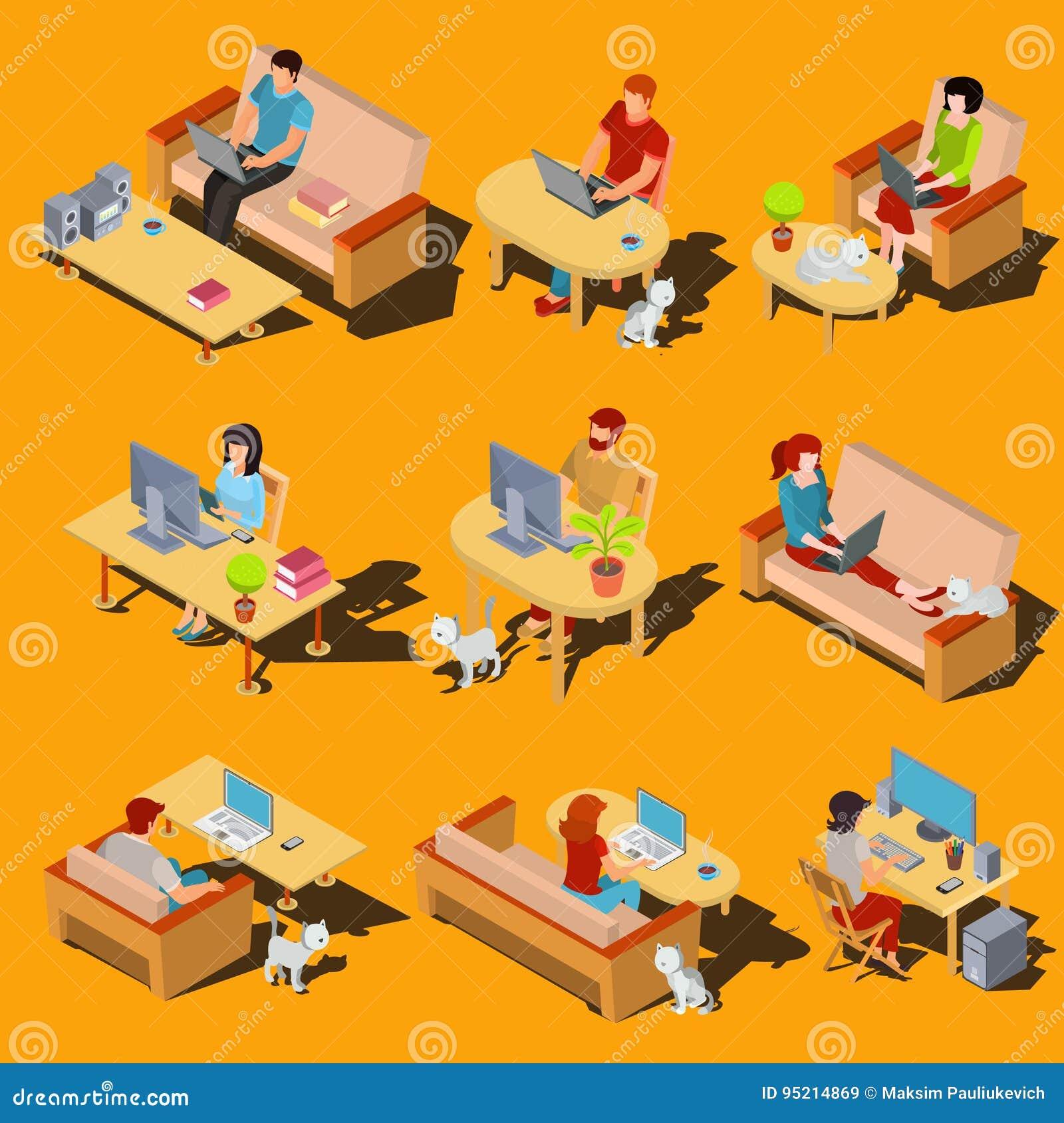 Reeks isometrische pictogrammen van mannen en vrouwen die aan een computer en laptop thuis werken