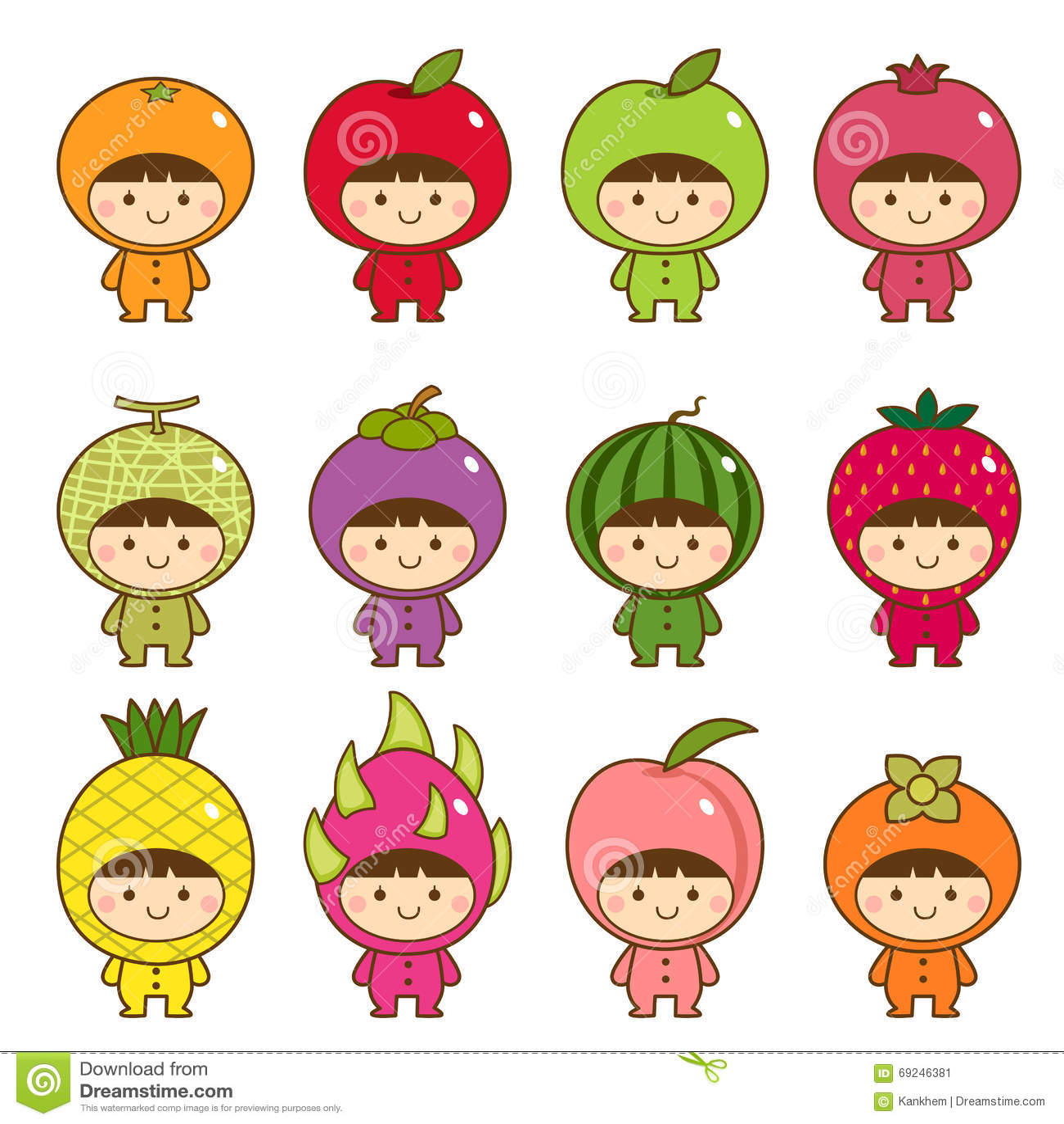 Reeks jonge geitjes in leuke vruchten kostuums