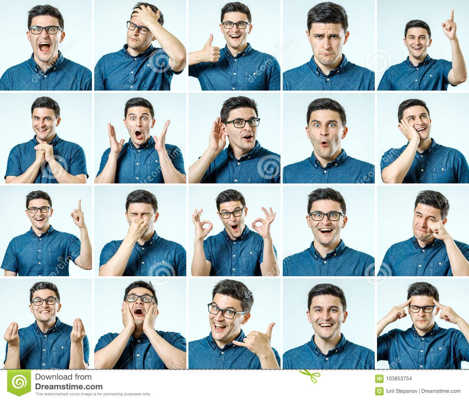 Reeks jonge mensen` s portretten met verschillend emoties en gebaar