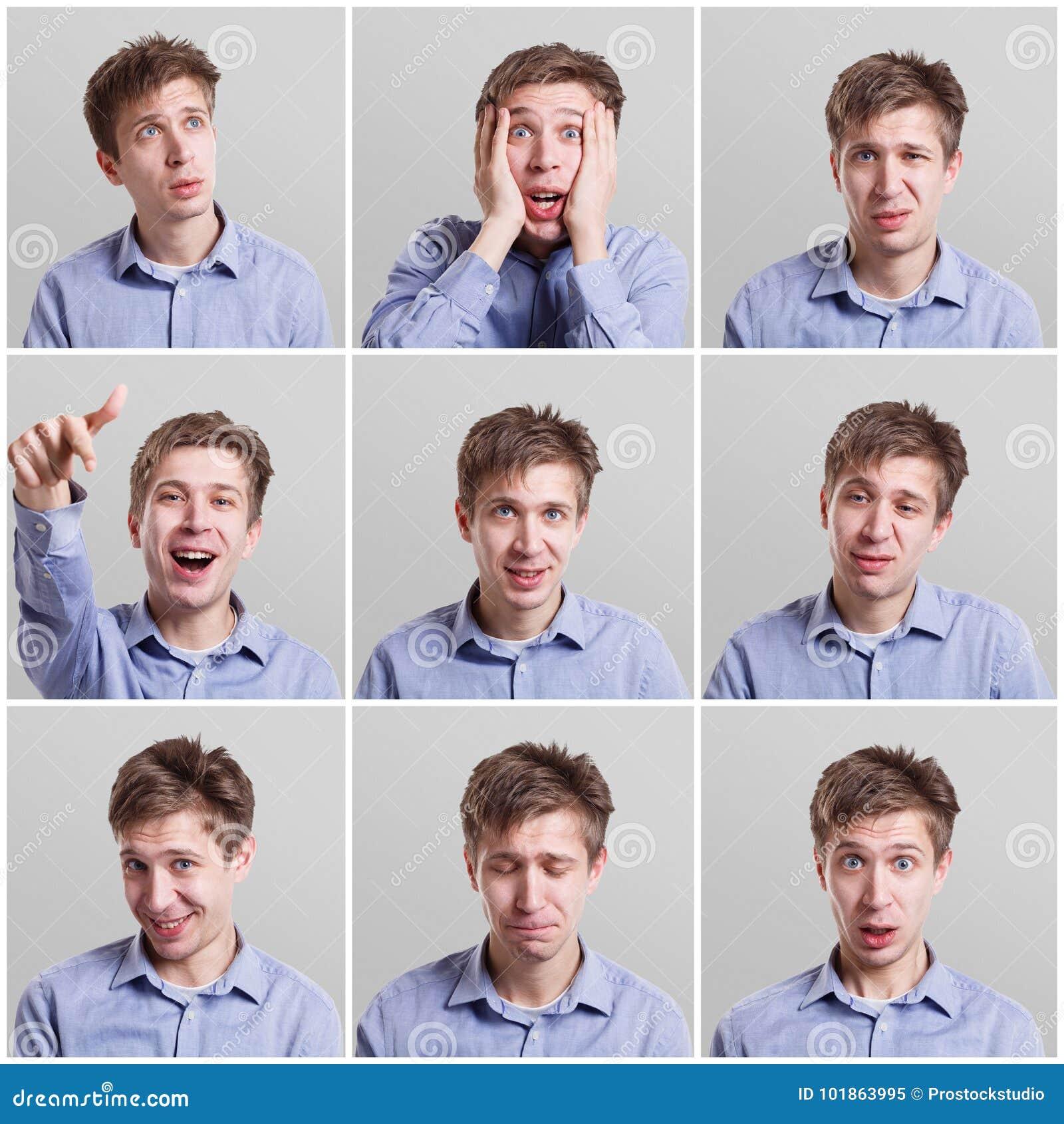 Reeks jonge mensen` s portretten met verschillende emoties