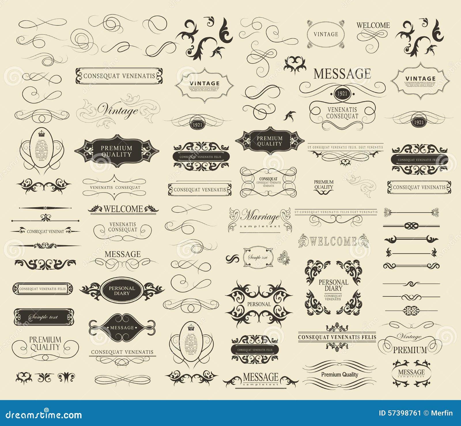 Reeks kalligrafische elementen voor ontwerp