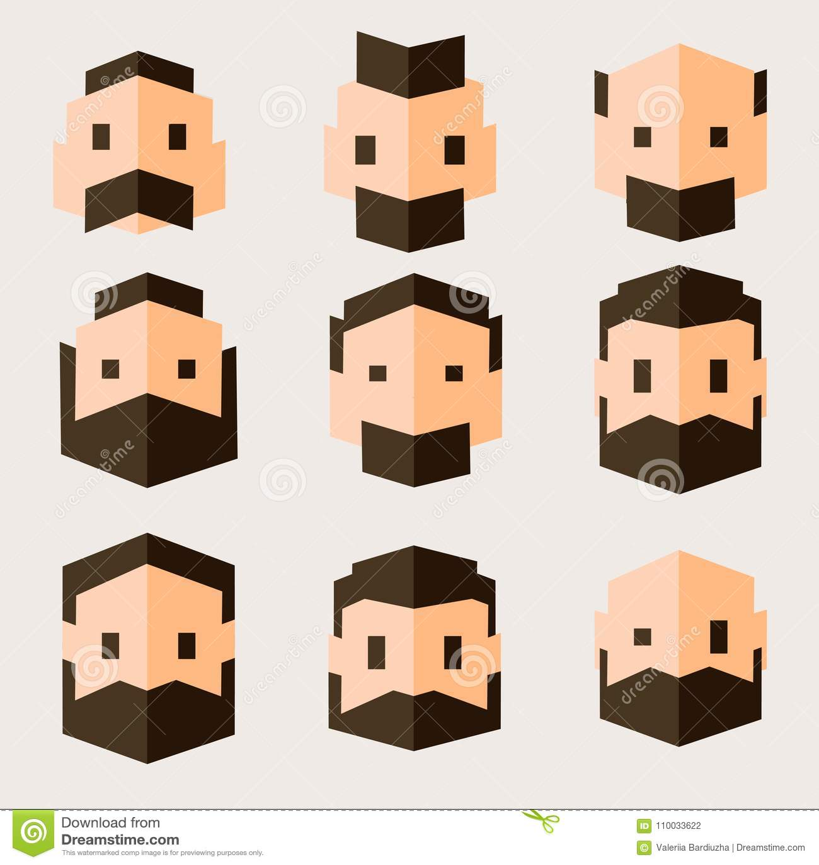 Reeks karakters in vlak ontwerp Mensen` s hoofden in geometrische vlakke stijl