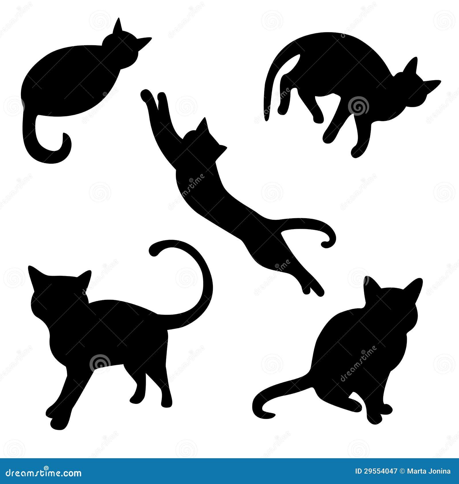 Reeks kattensilhouetten