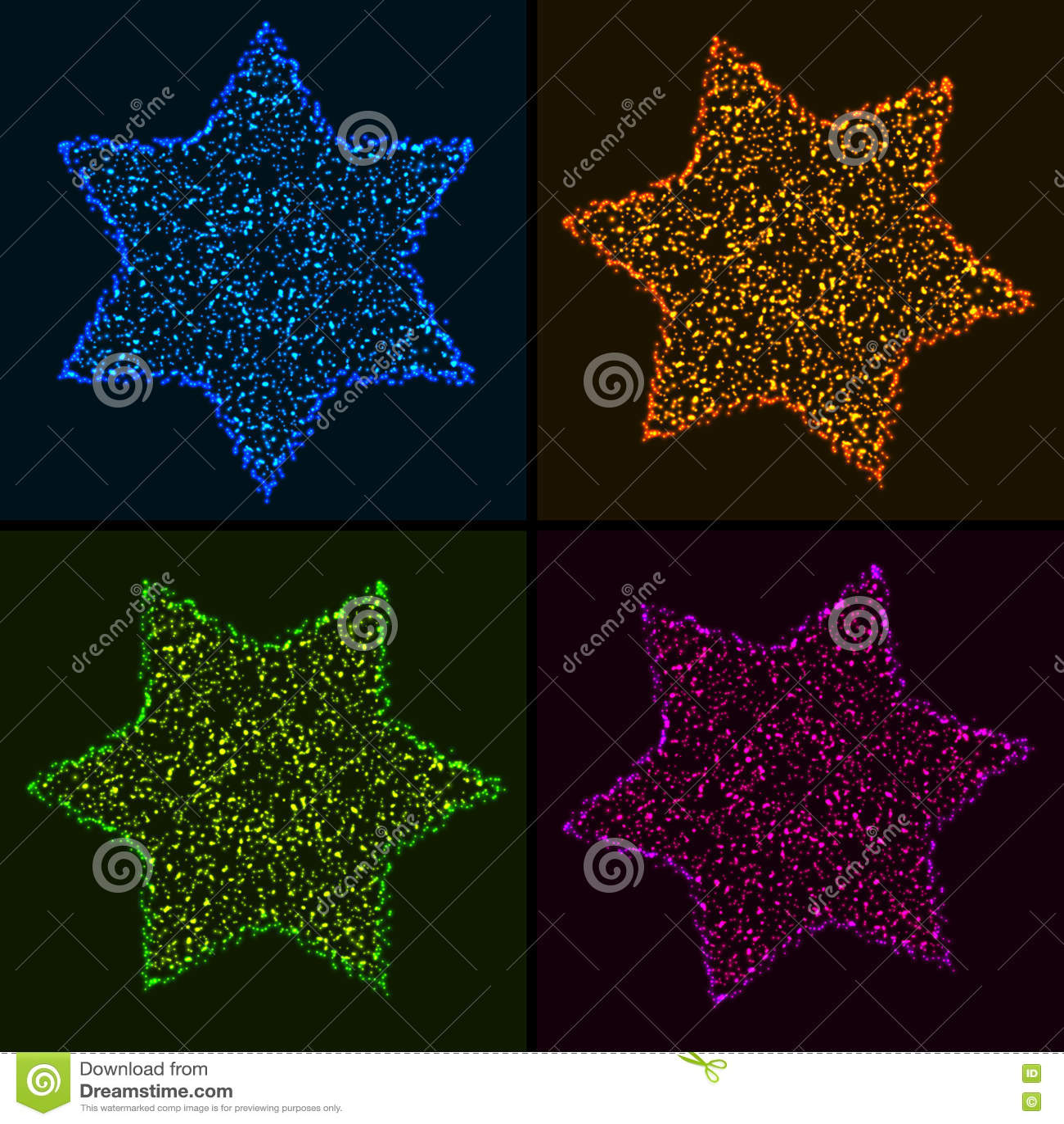 Reeks Kerstmis Gloeiende Kleurrijke Hexagonale Sterren