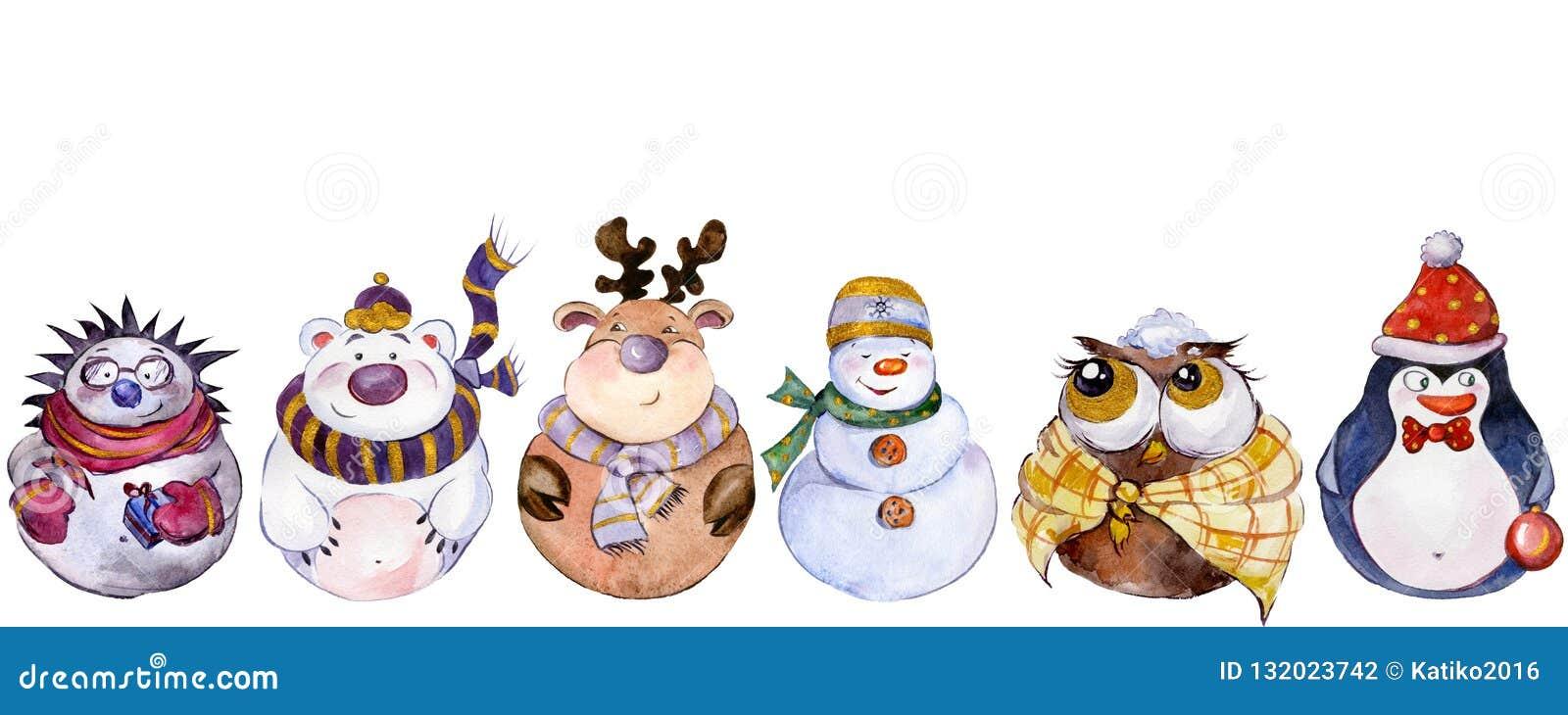 Reeks Kerstmiskarakters op witte achtergrond worden geïsoleerd die