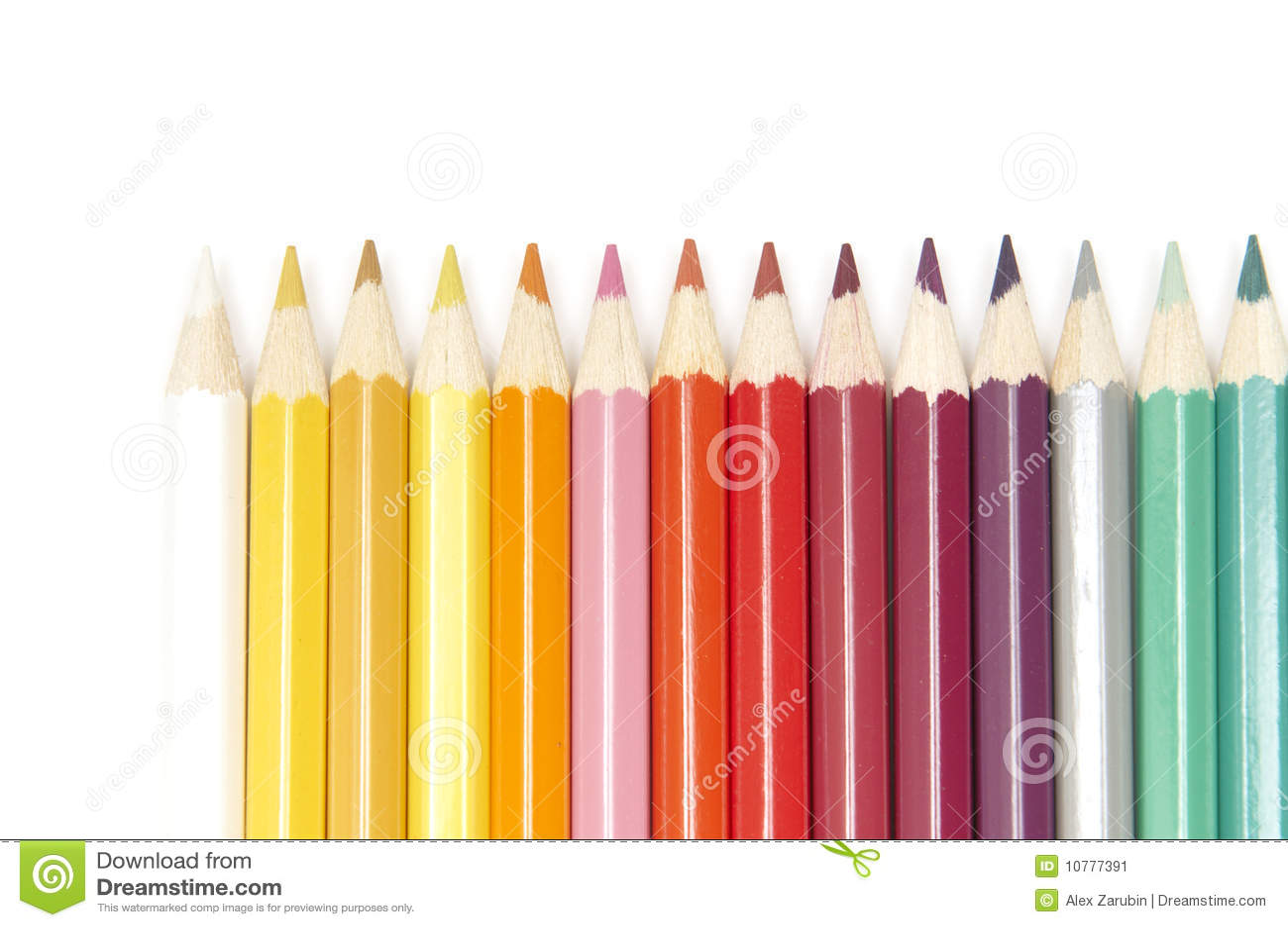 Reeks kleurenpotloden