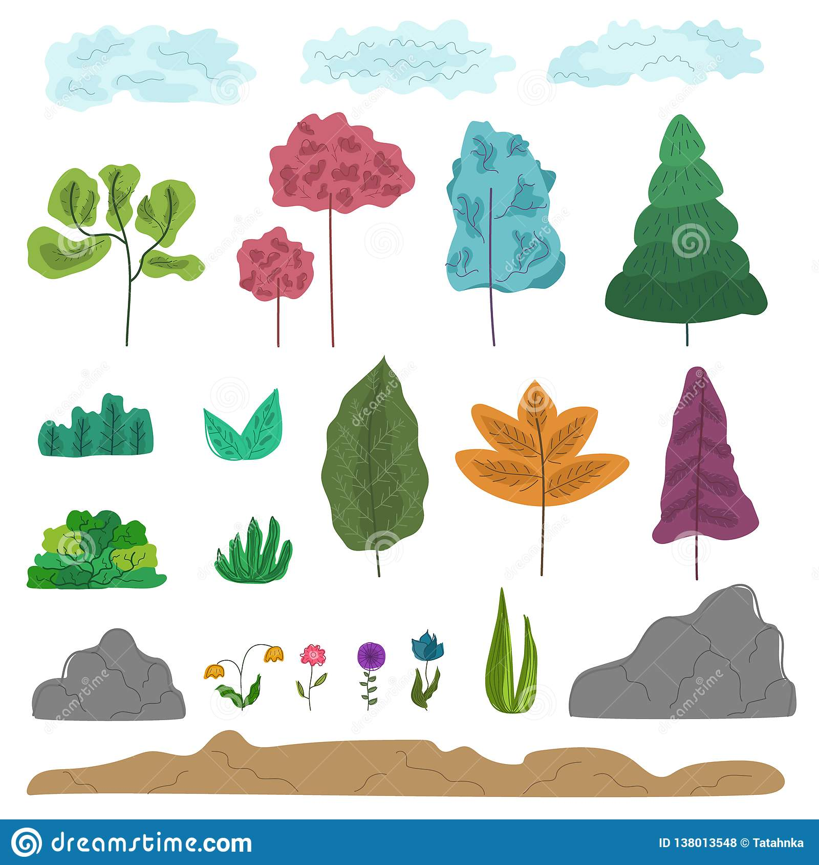 Reeks kleurrijke fantasie abstracte bomen, gras