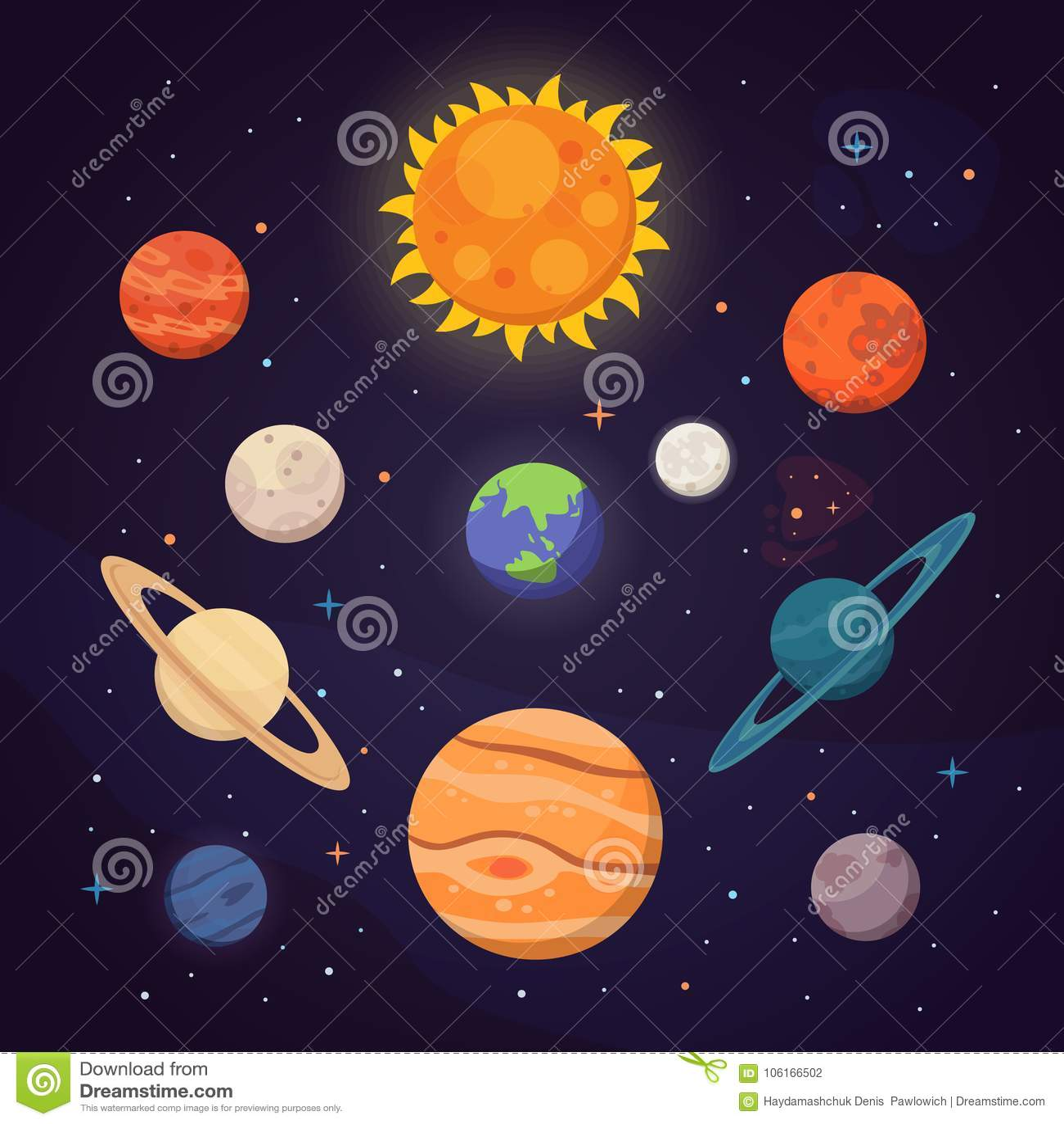 Reeks kleurrijke heldere planeten Zonnestelsel, ruimte met sterren Leuke beeldverhaal vectorillustratie