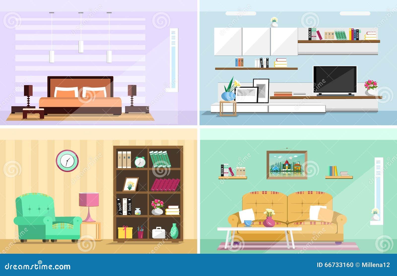 Woonkamer En Slaapkamer : Reeks kleurrijke vector binnenlandse ruimten van het ontwerphuis met