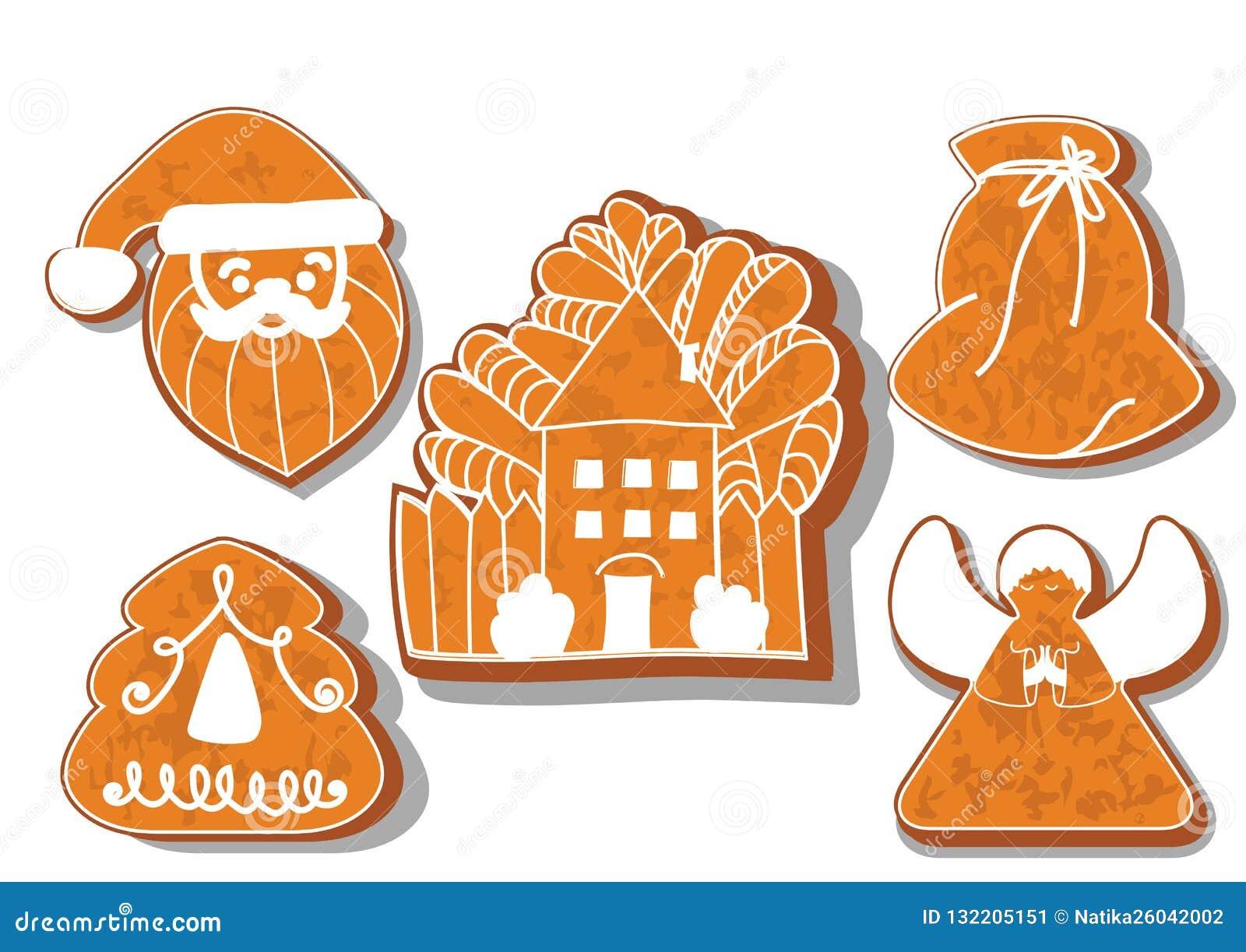 Reeks koekjes van Kerstmis Reeks verschillende peperkoekkoekjes voor Kerstmis Kerstmiskarakters van de Kerstmispeperkoek