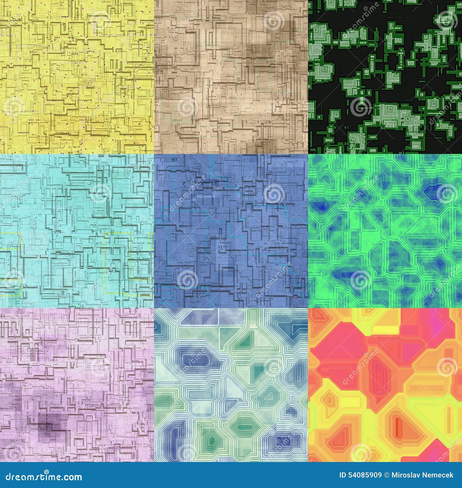 Reeks kringen naadloze geproduceerde texturen