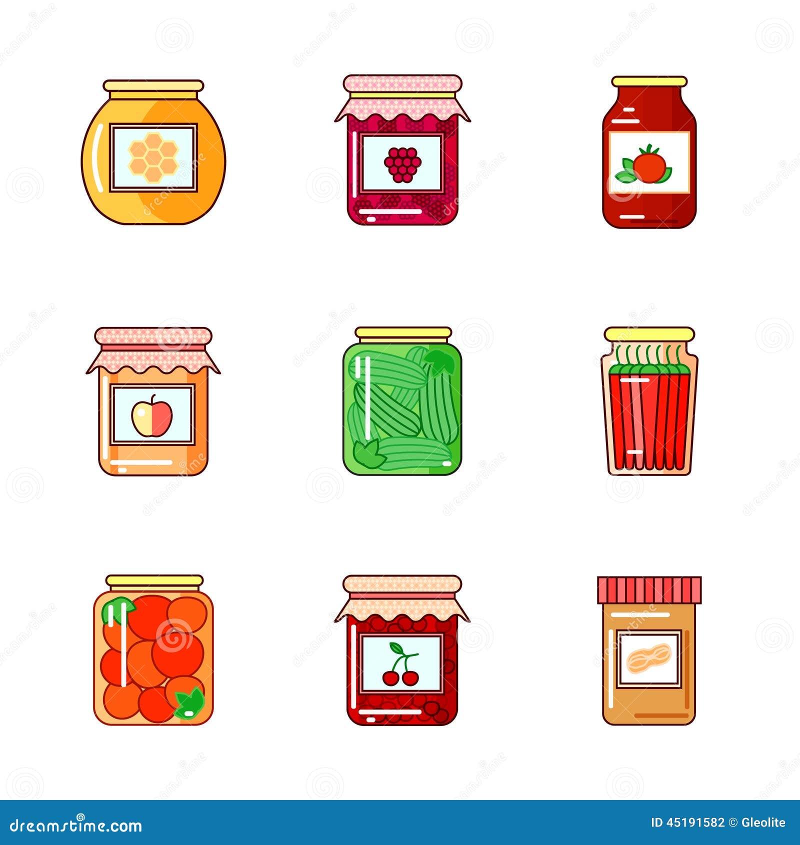 Reeks kruiken met honing, jam en groenten