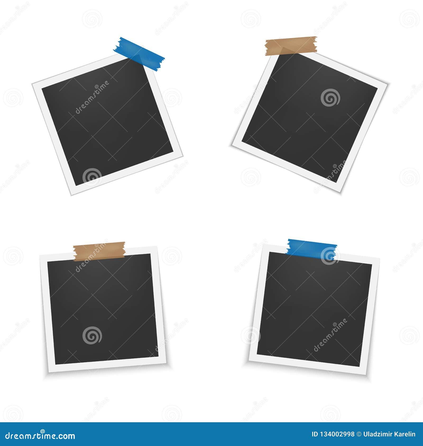 Reeks lege fotokaders met schaduw Leeg malplaatje voor fotografie en beeld Realistische lege onmiddellijke fotokaart