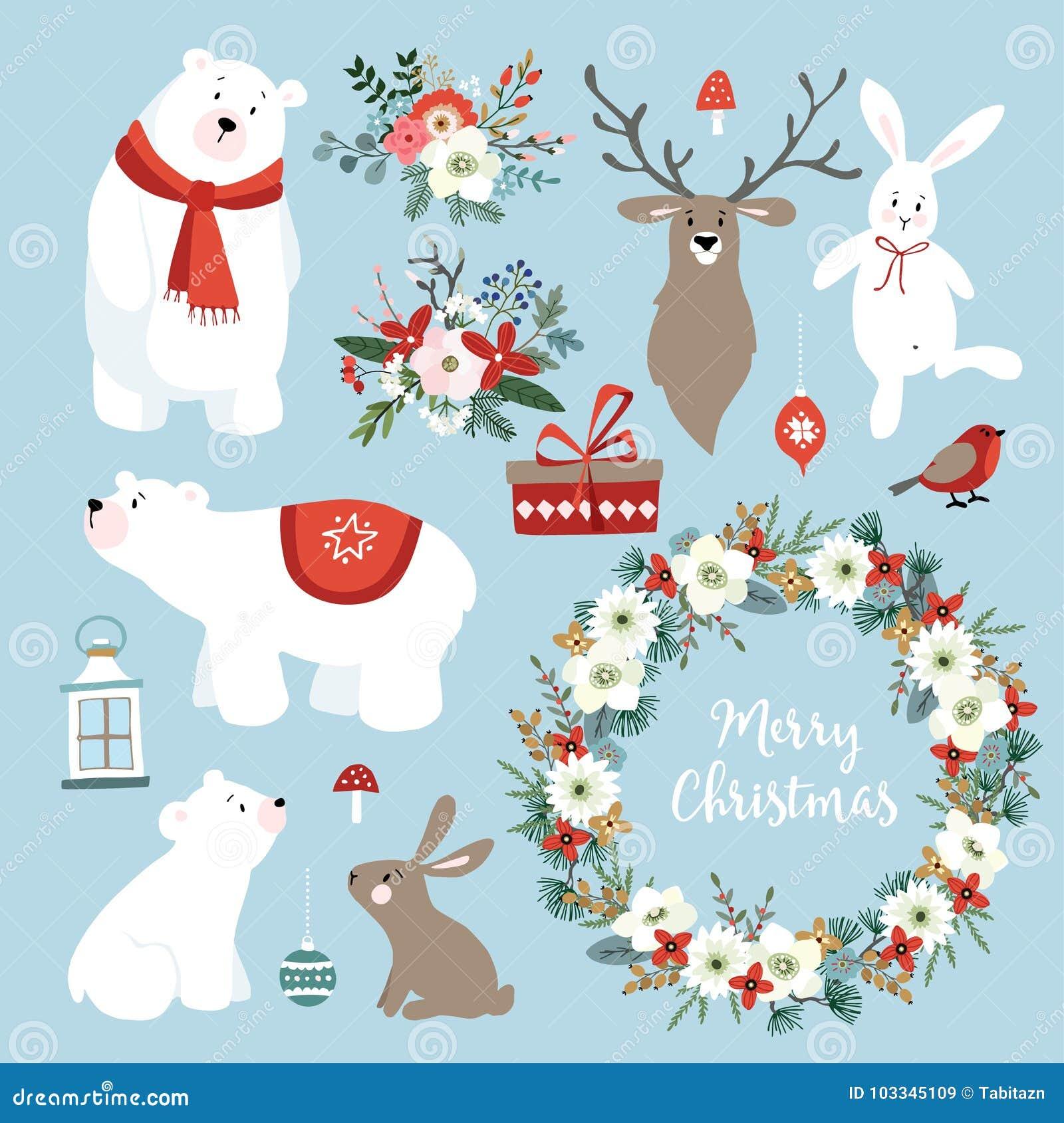 Reeks leuke Kerstmis klem-kunsten met konijntjes, rendier, ijsberen