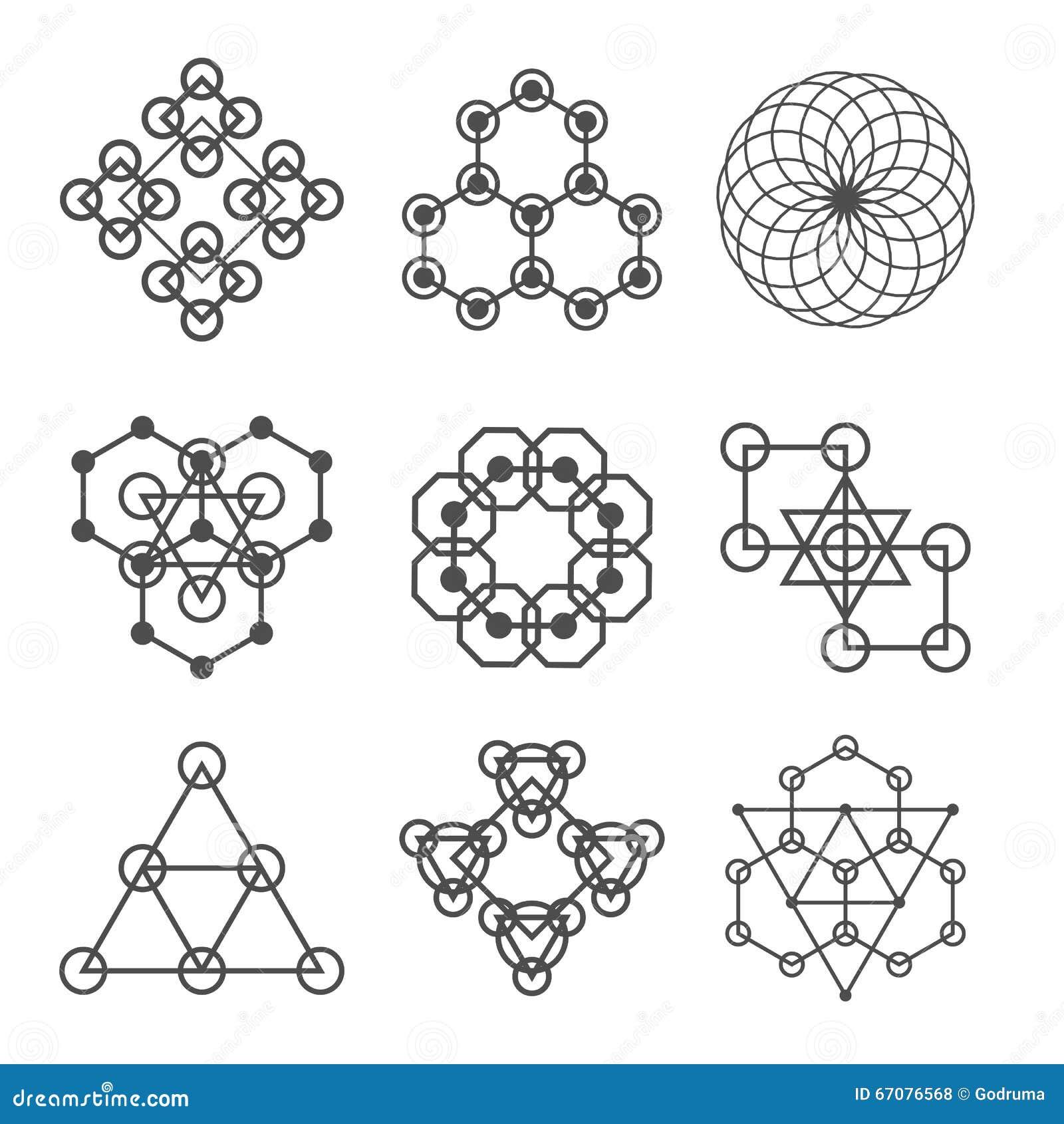 Reeks lijn abstracte geometrische logotypes Reeks abstracte geometrische vormen, driehoeken, lijnontwerp, emblemen