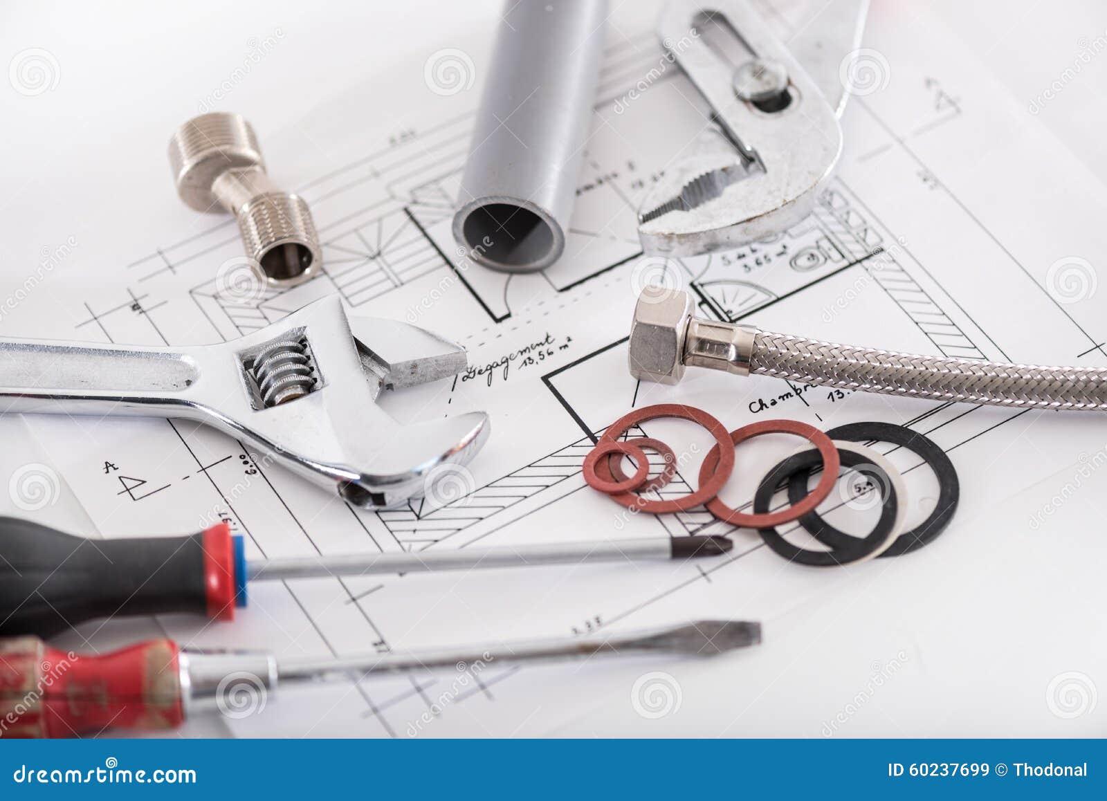 Reeks loodgieterswerkmaterialen
