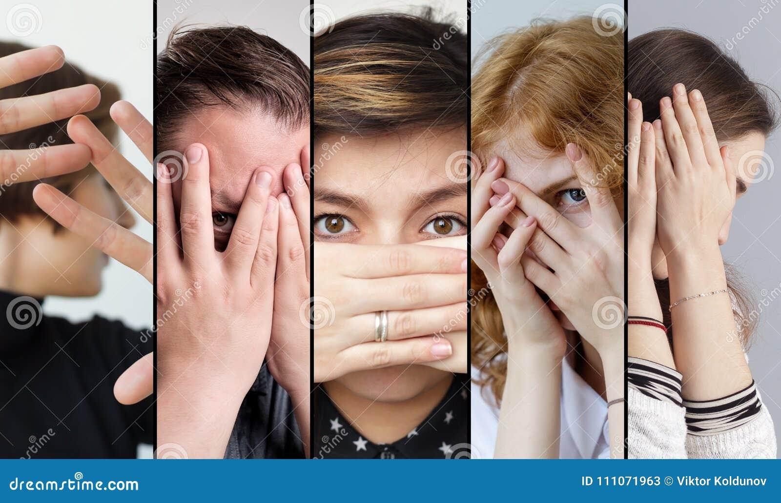 Reeks mensen die hun gezicht met vingers verbergen