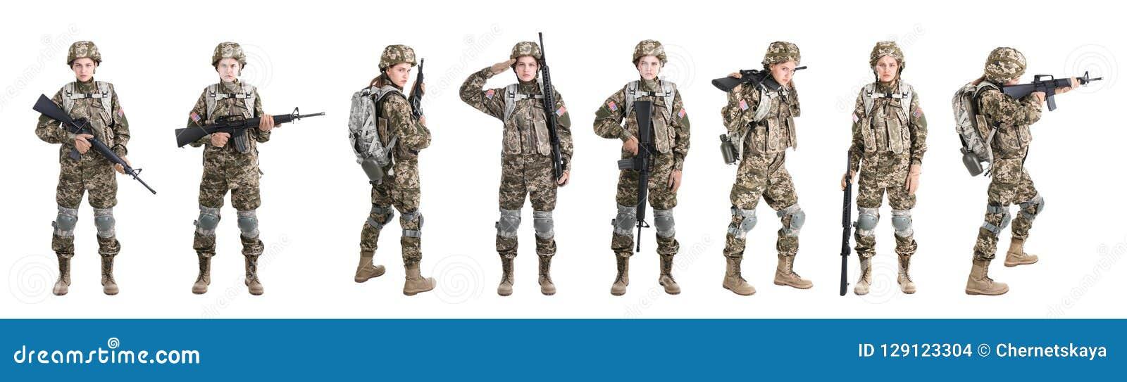 Reeks met vrouwelijke militair op witte achtergrond