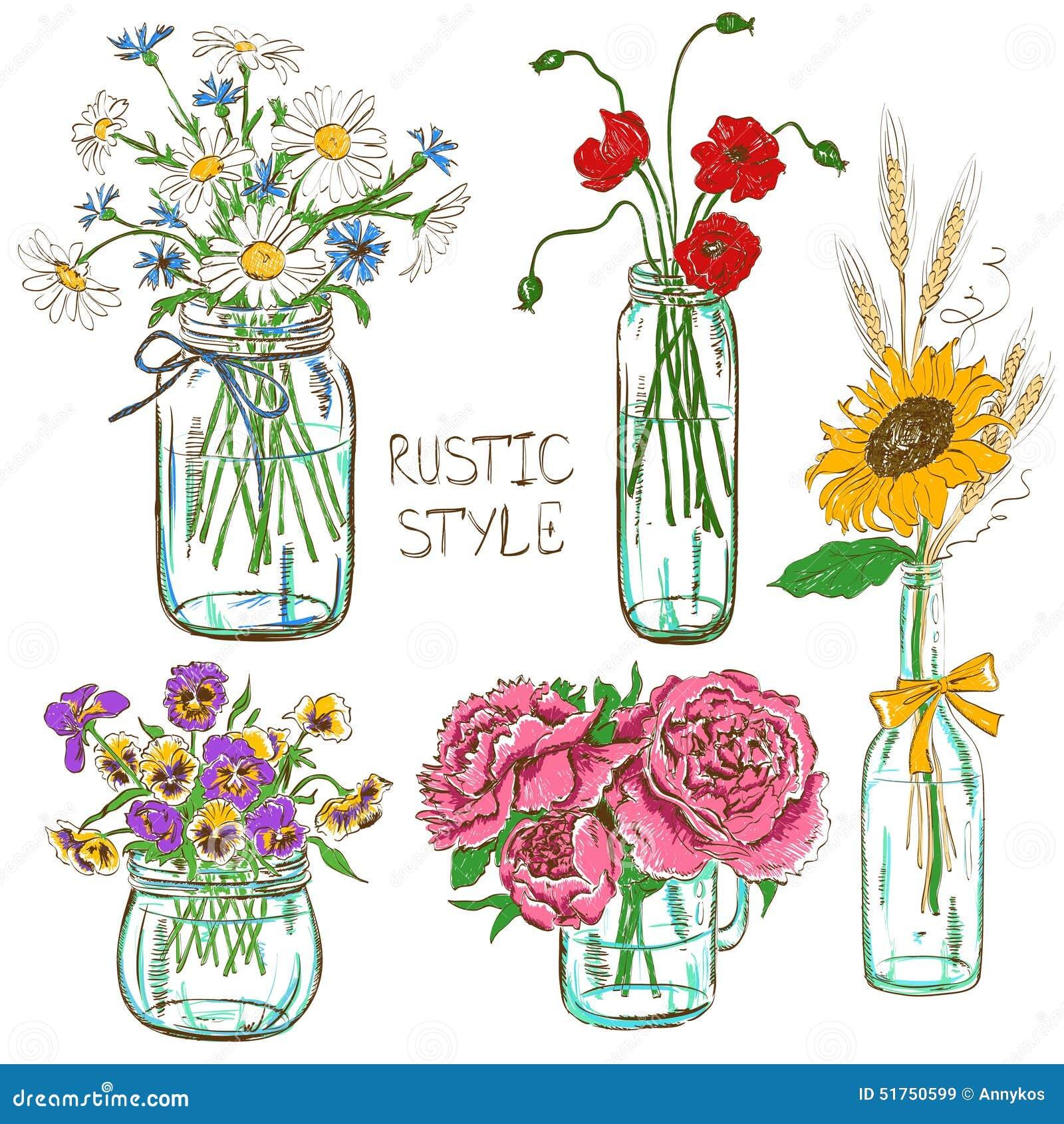 Reeks metselaarkruiken met bloemen