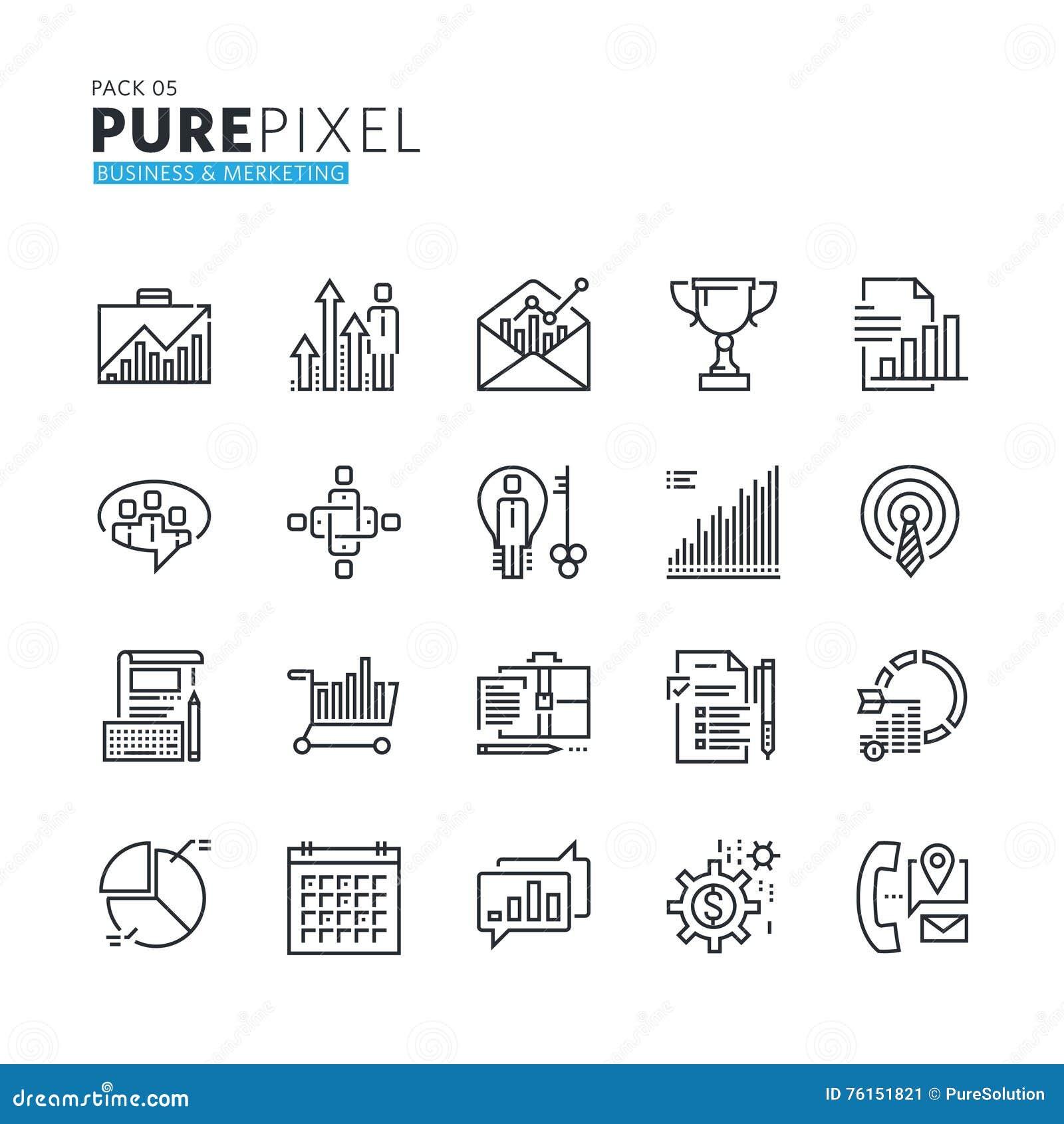 Reeks moderne dunne perfecte pictogrammen van het lijnpixel van zaken en marketing
