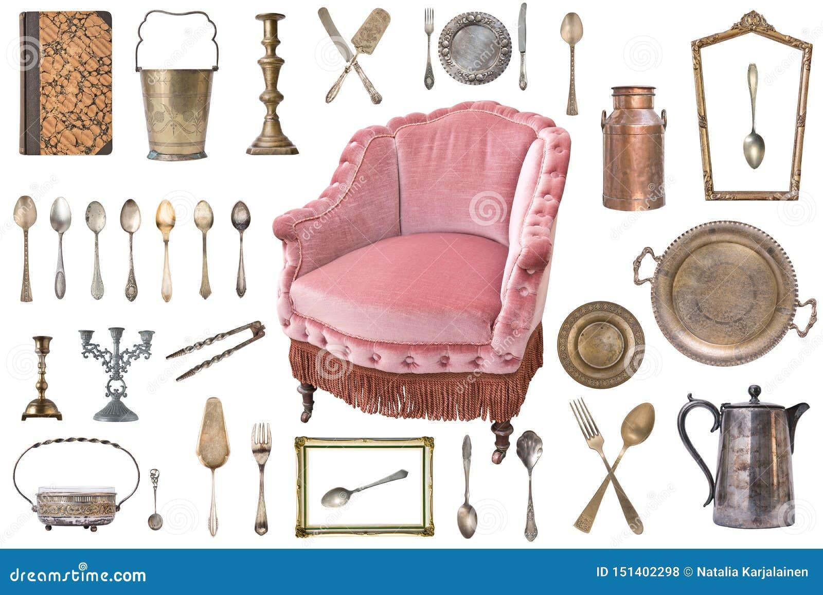 Reeks mooie antieke punten, omlijstingen, meubilair, tafelzilver retro wijnoogst Ge?soleerdj op witte achtergrond