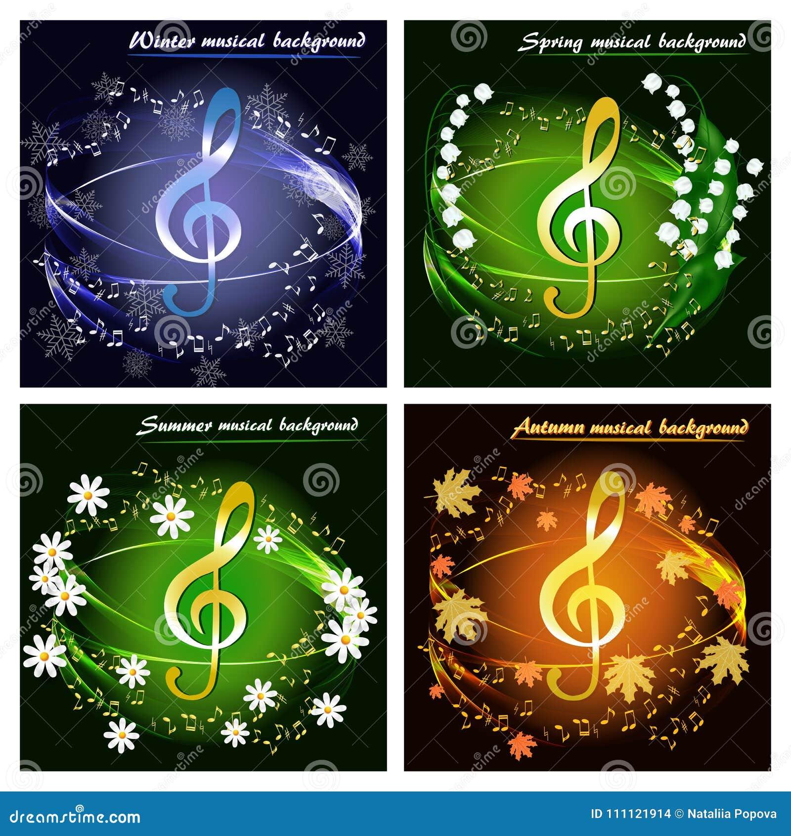 Reeks muzikale kaarten door de seizoenen