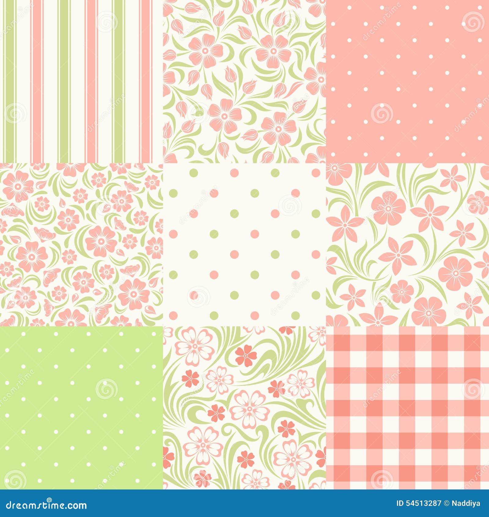 Reeks naadloze bloemen en geometrische patronen Vector illustratie