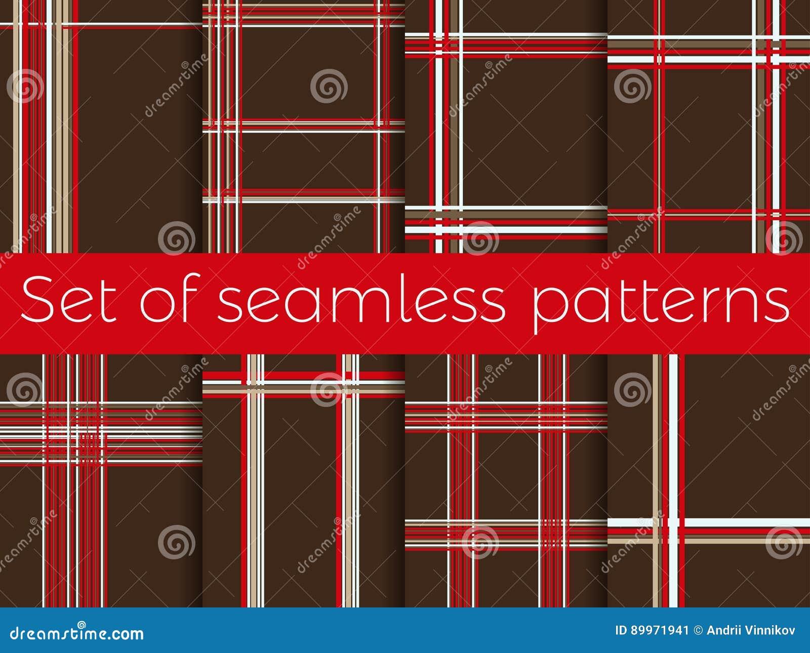 Reeks naadloze patronen met strepen in een kooi abstracte achtergrond Vector