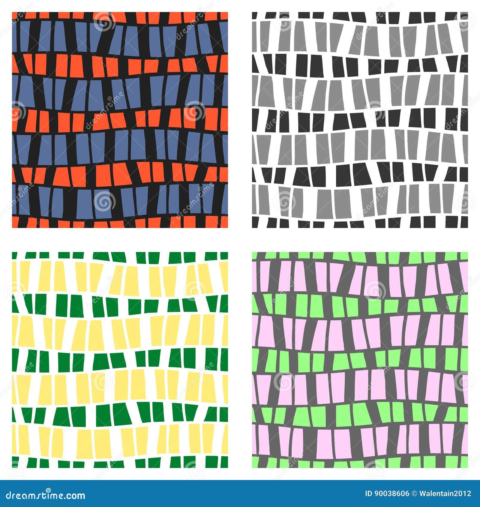 Reeks naadloze vectorpatronen Kleurrijke geometrische achtergrond in grijze, groene, roze kleuren Grafische illustratie Herhaal d