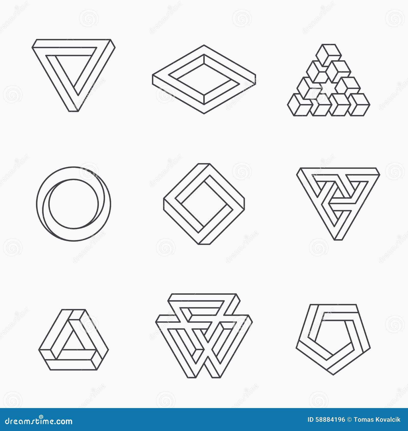 Reeks onmogelijke vormen vector illustratie illustratie - Figuras geometricas imposibles ...