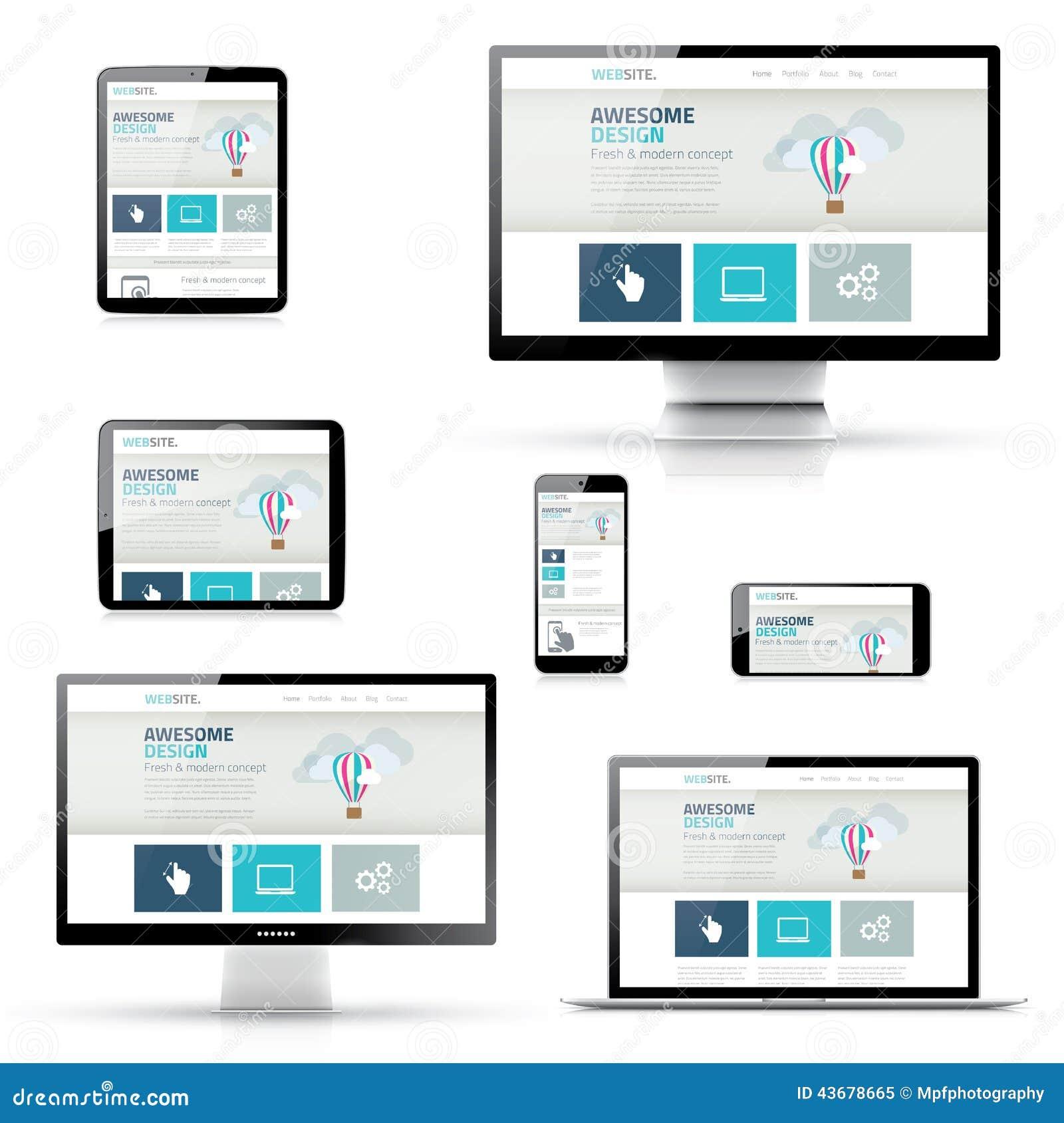 Reeks Ontvankelijke Websiteontwerpen in Elektronische Apparaten