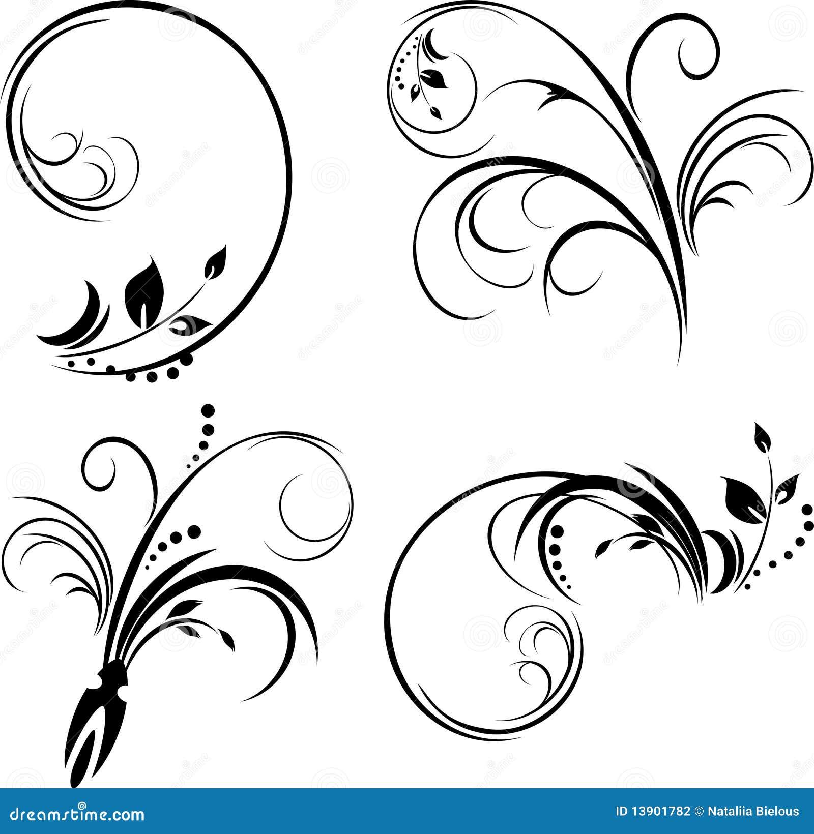 Reeks ornamenten. Zwarte die op het wit wordt geïsoleerd