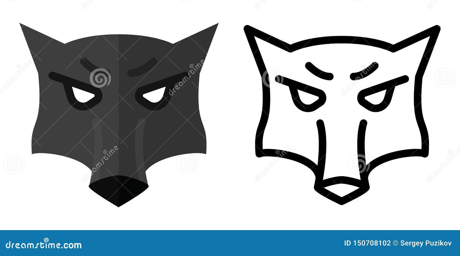 Reeks pictogrammen - emblemen in lineaire en vlakke stijl het hoofd van een wolf Vector illustratie