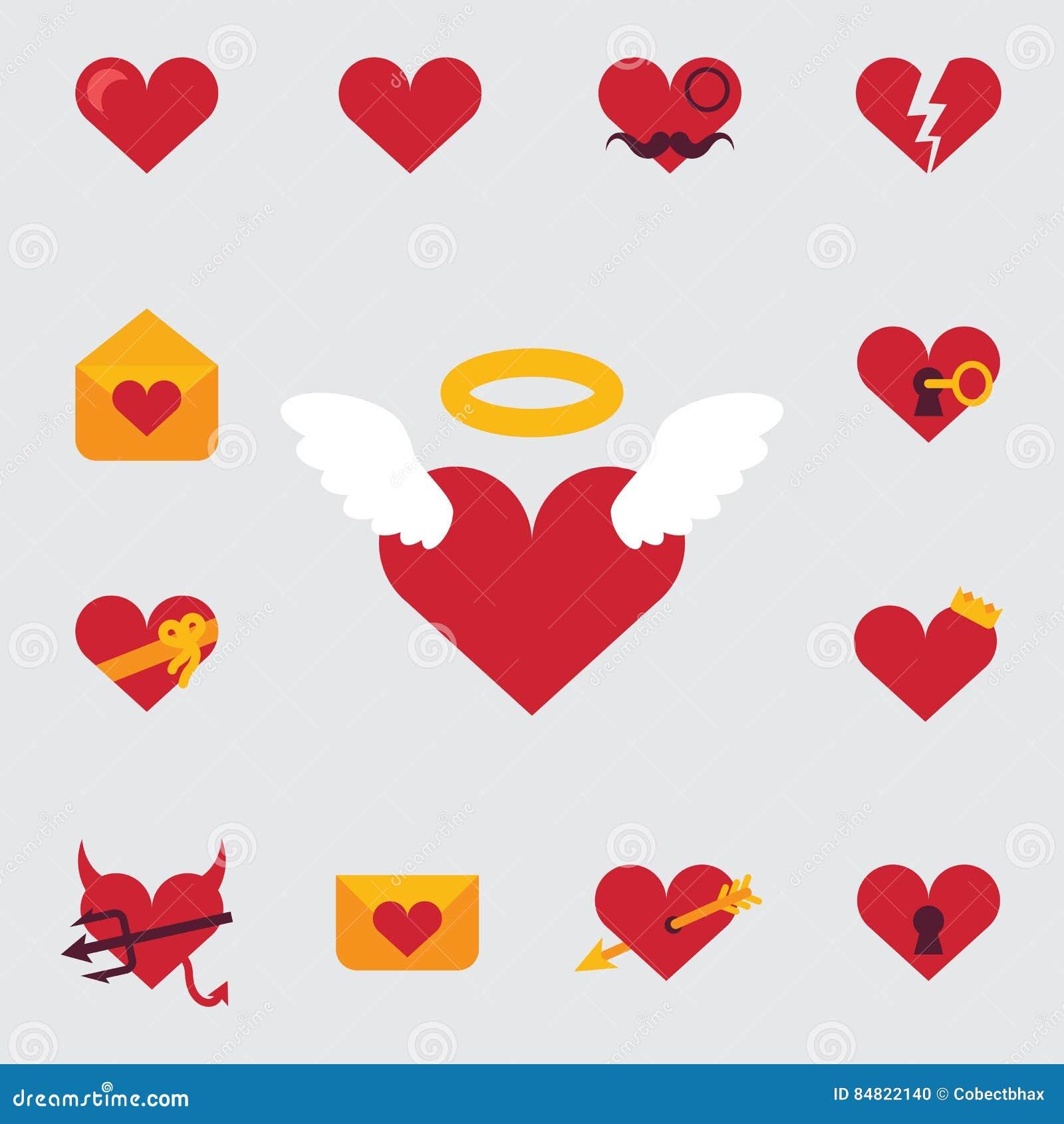 Reeks pictogrammen, of feestelijke uitnodigingskaart voor Valentine Day die de de de karakterliefde, harten, engelen en romanti k