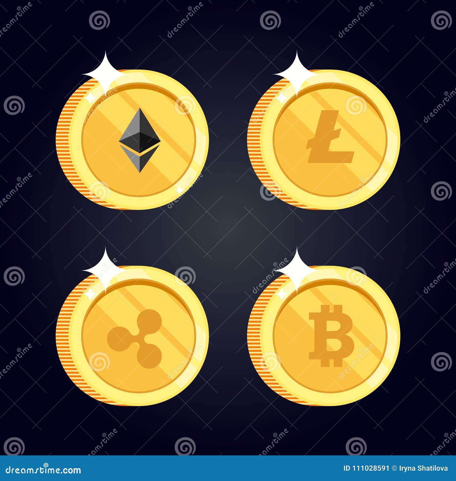 Reeks pictogrammen Litecoin, Rimpeling, Ethereum, bitcoin muntstukken
