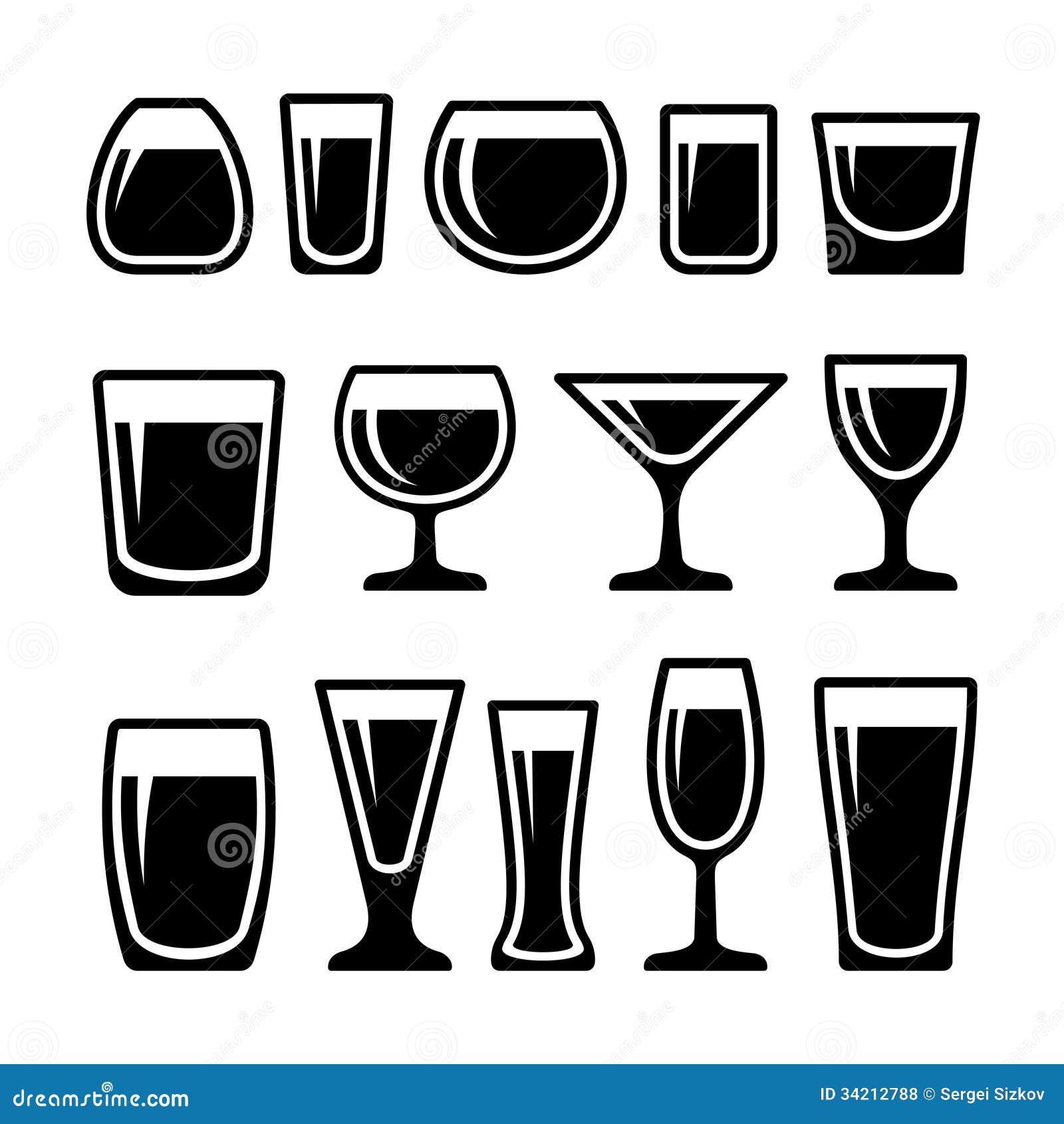 Reeks pictogrammen van drankglazen
