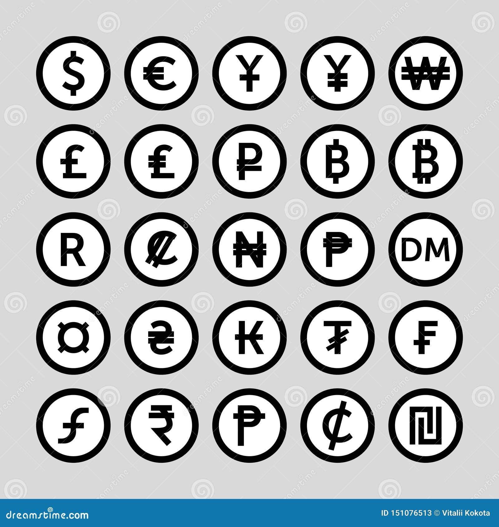 Reeks pictogrammen voor muntsymbool