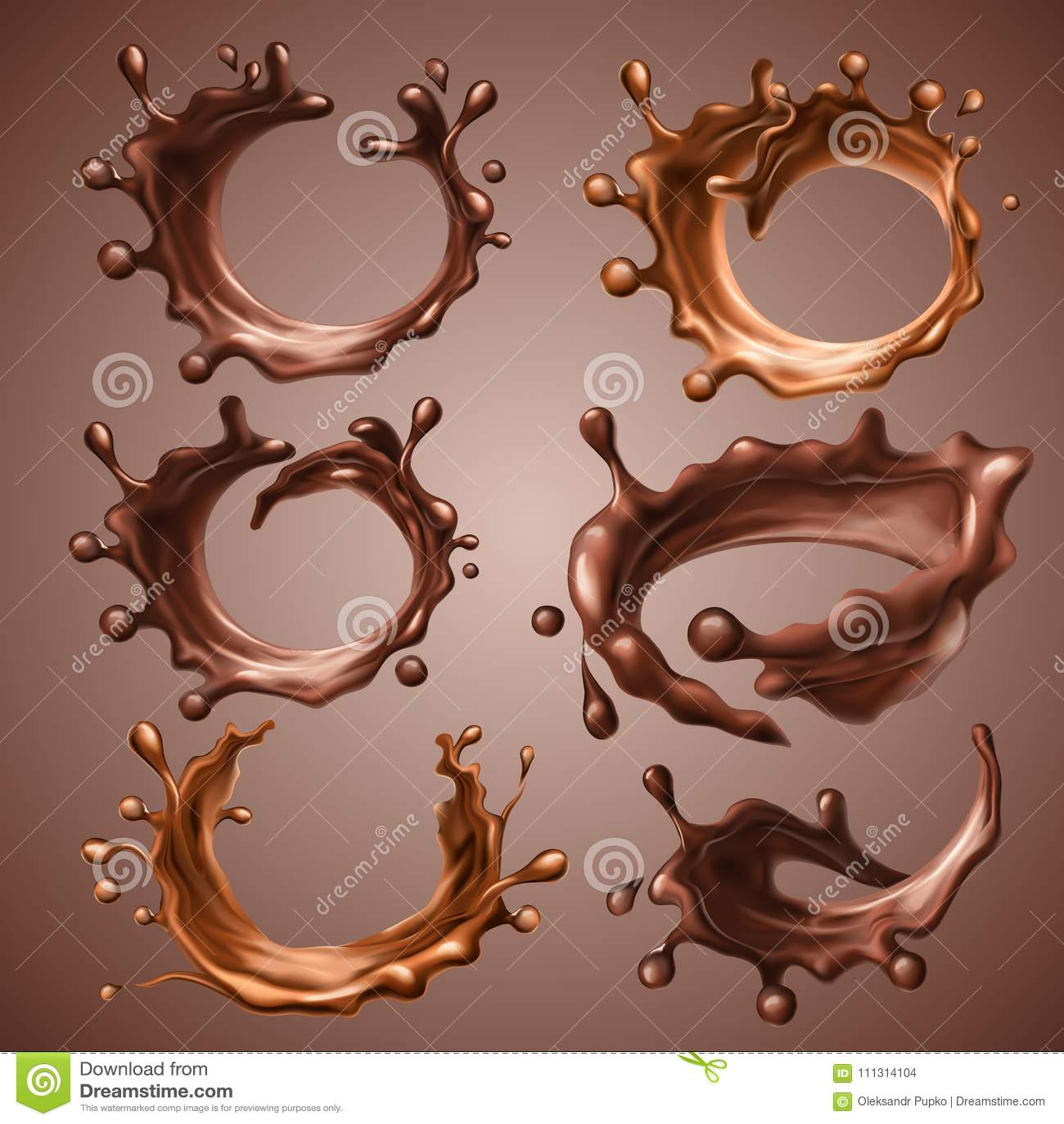 Reeks realistische plonsen en dalingen van gesmolten dark en melkchocola Dynamische cirkelplonsen van roes vloeibare chocolade