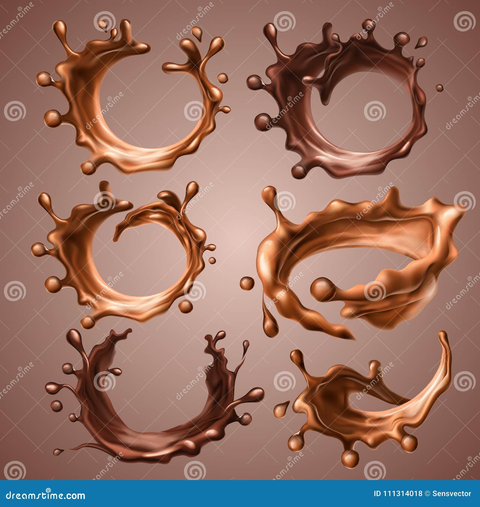 Reeks realistische plonsen en dalingen van gesmolten melk en donkere chocolade Dynamische cirkelplonsen van roes vloeibare chocol